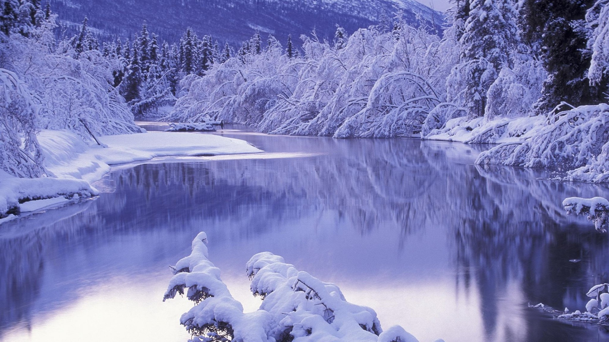 2048x1152 Preview wallpaper snow, white, winter, nature, scenery