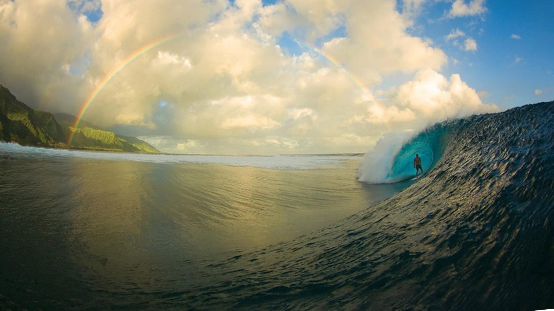 1920x1080 Surfing Rainbows 21662 Wallpaper