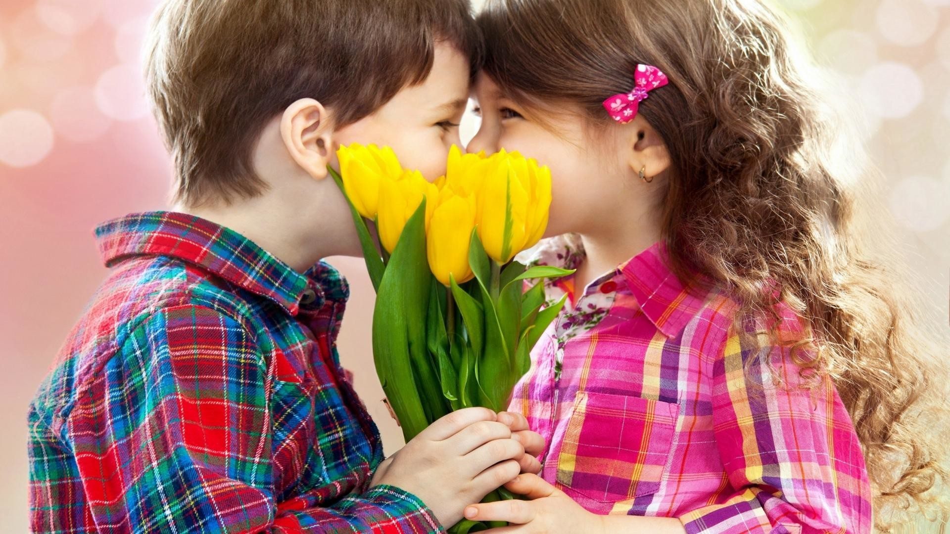 1920x1080 Cute Kids Girl And Boy Kissing HD Wallpaper - StylishHDWallpapers