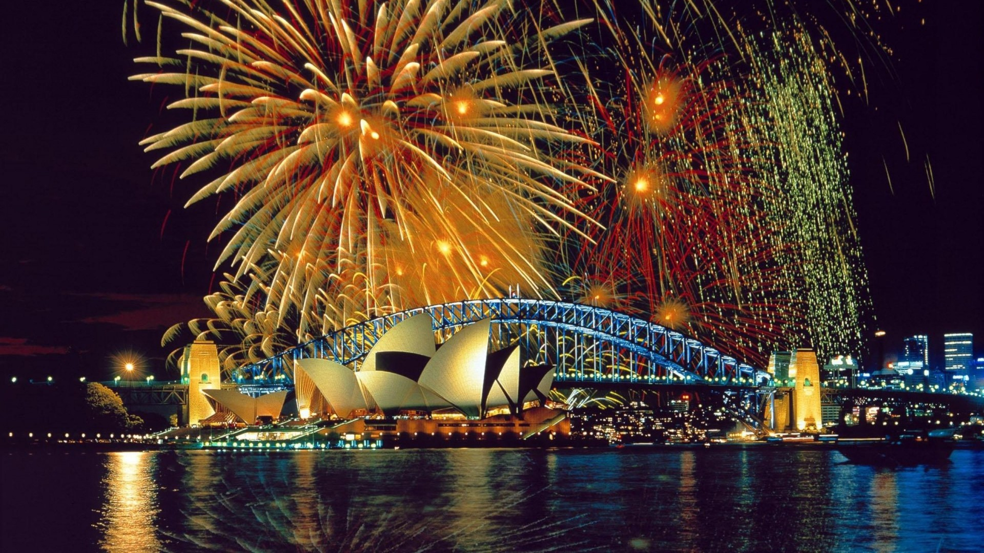 1920x1080 Preview wallpaper sydney, fireworks, opera, theater, river