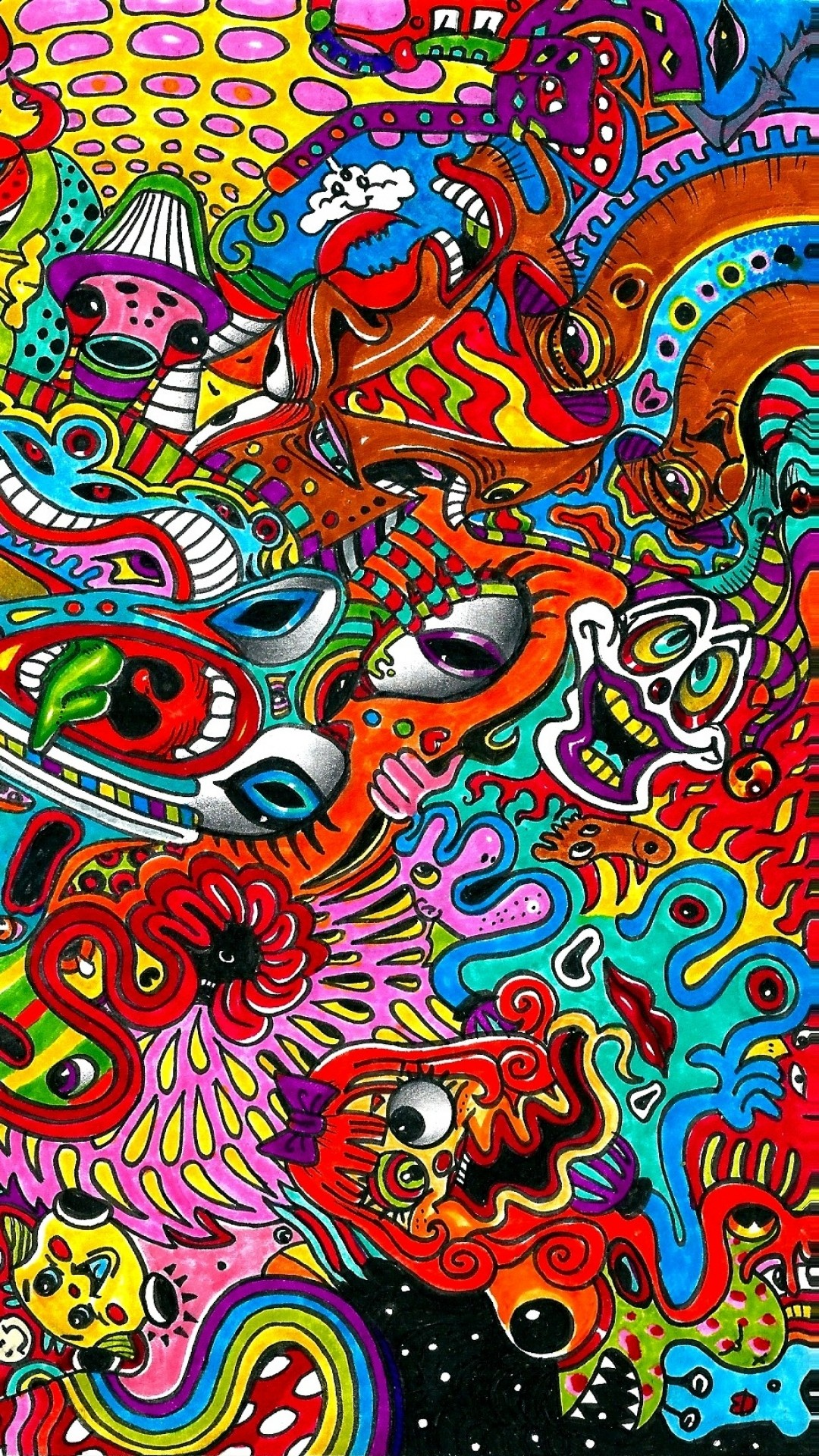 1080x1920 Artistic Psychedelic Colorful Surreal Drawing. Wallpaper 33104