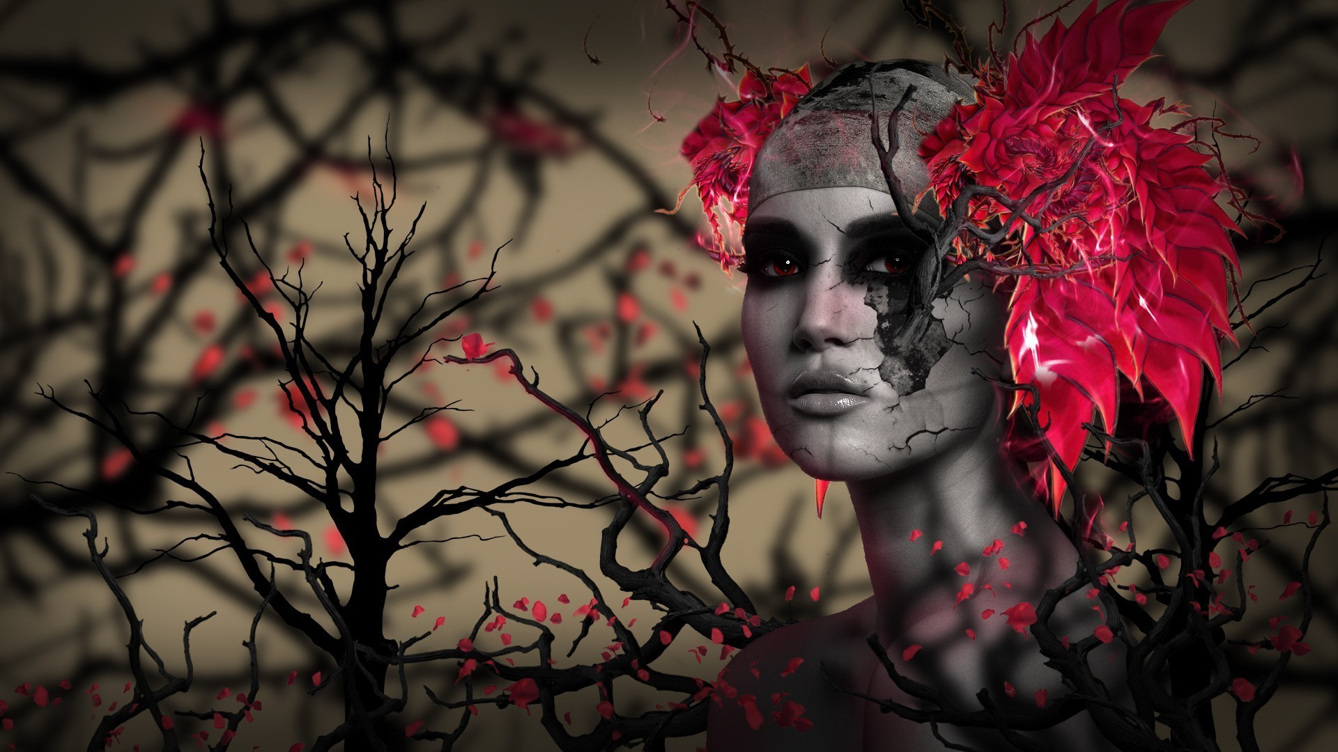 1920x1080 digital Art, 3D, CGI, Face, Women, Trees, Branch, Red Eyes, Leaves, Depth  Of Field, Feathers Wallpapers HD / Desktop and Mobile Backgrounds