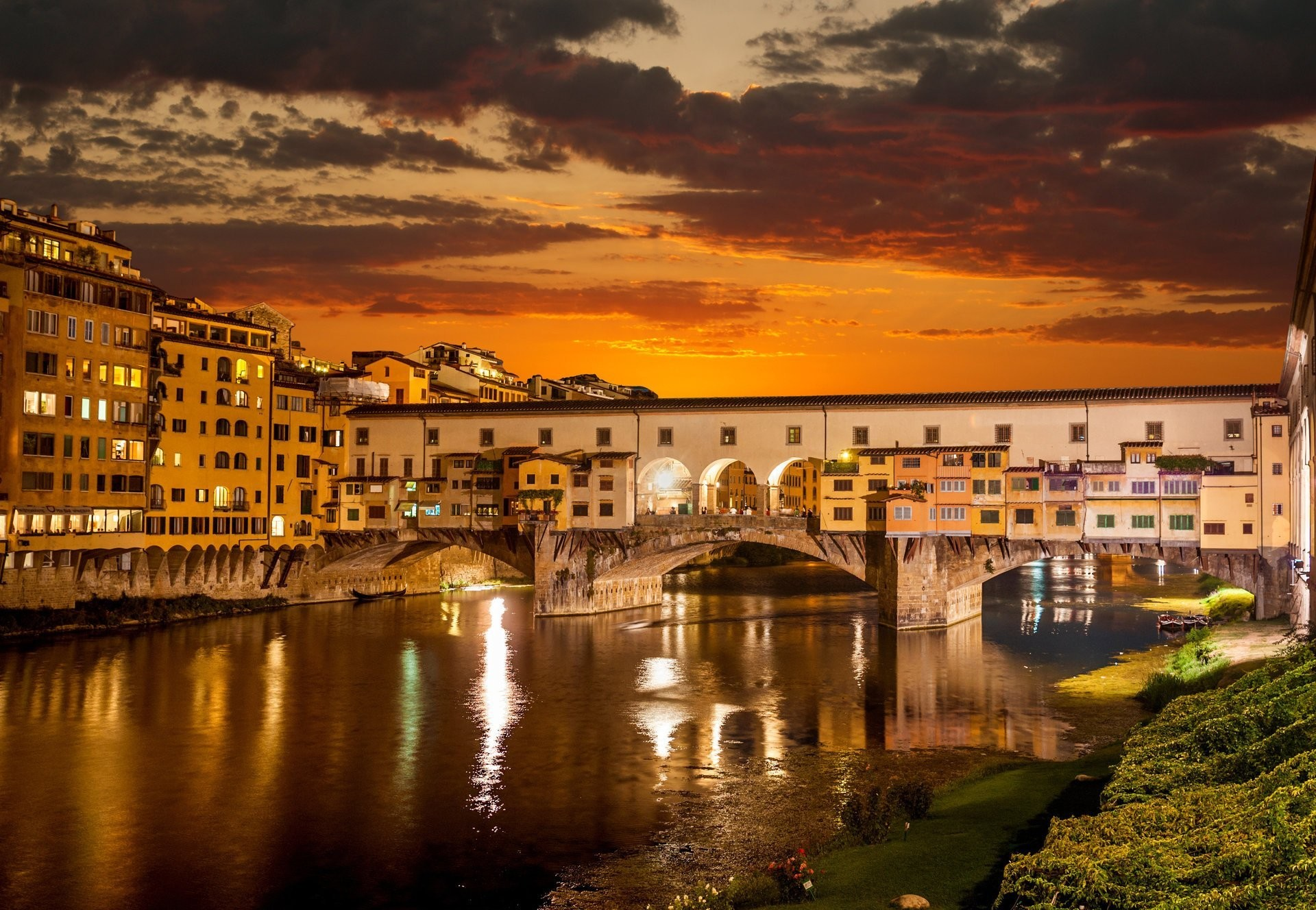 1920x1328 night venice beautiful italy buildings lights city sunrise river arno  florence old bridge italy beautiful town of the river arno HD wallpaper