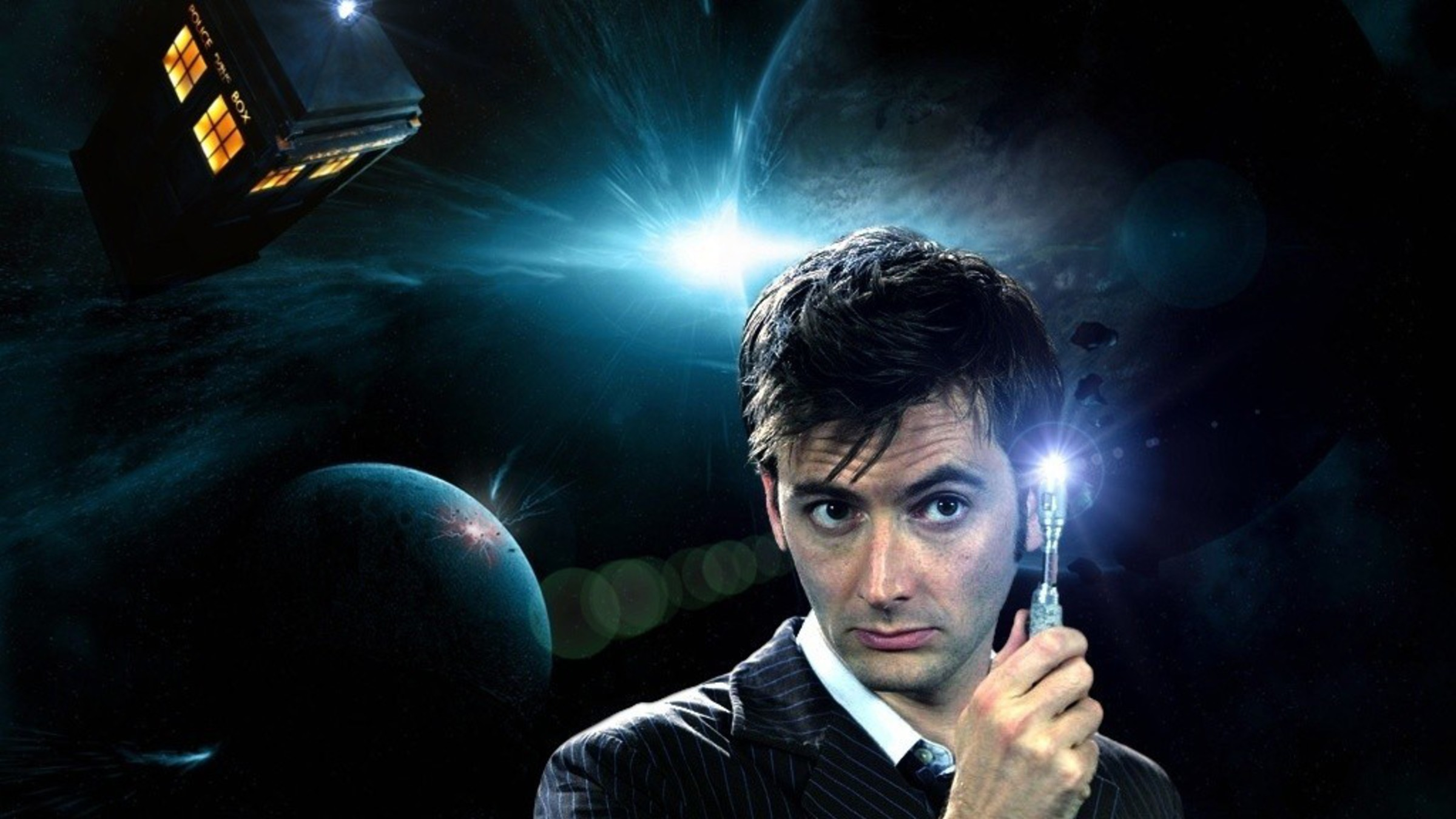 2400x1350 Tardis david tennant doctor who tenth sonic screwdriver wallpaper