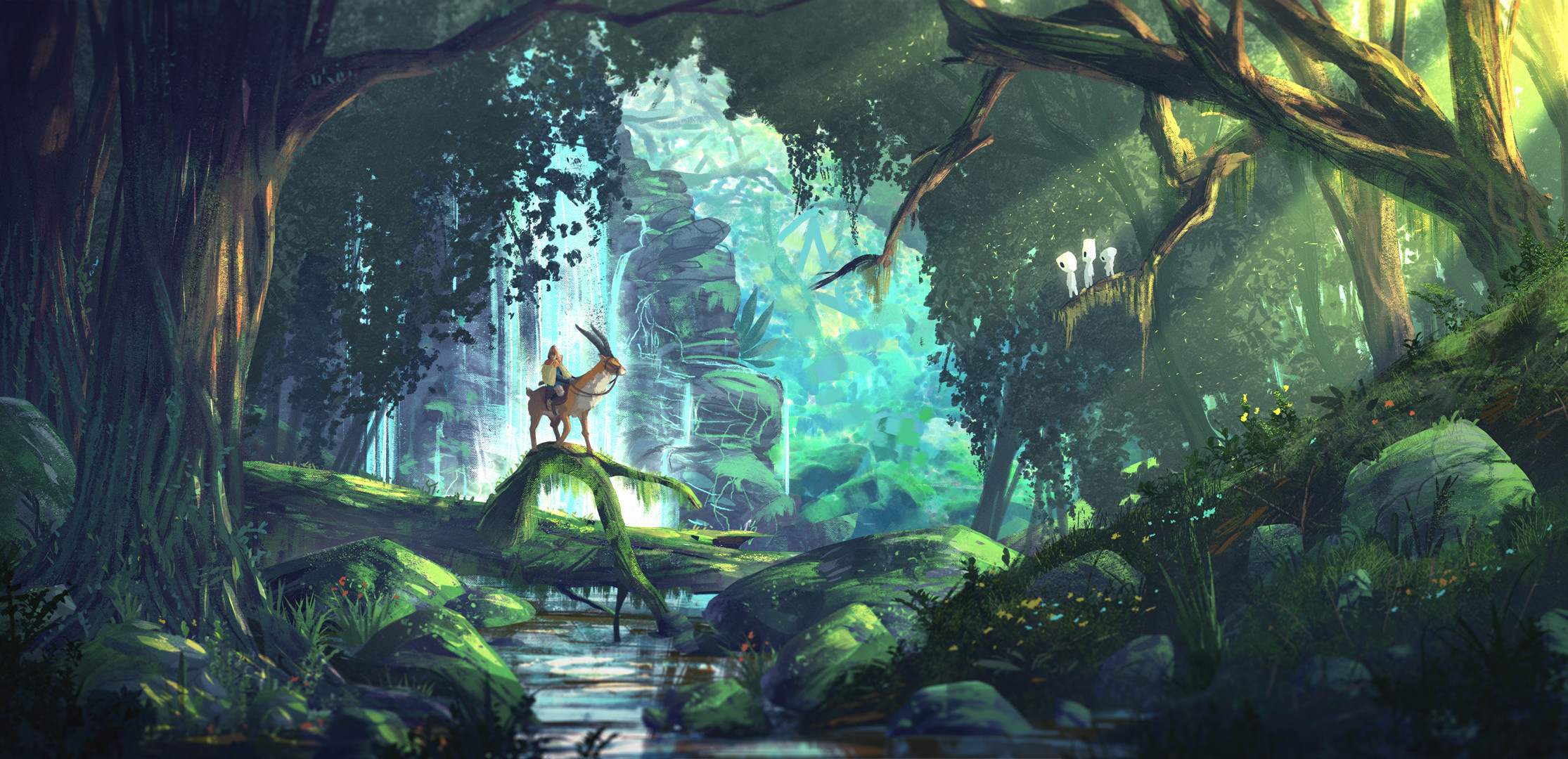 2230x1080 Princess Mononoke painted Forest Wallpaper (high res)
