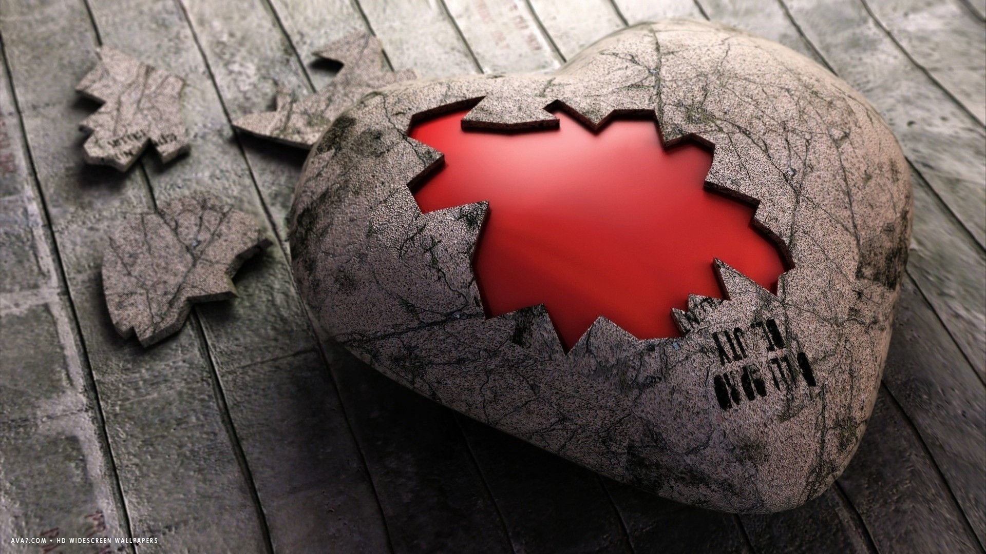 1920x1080 broken heart stone 3d pieces hd widescreen wallpaper