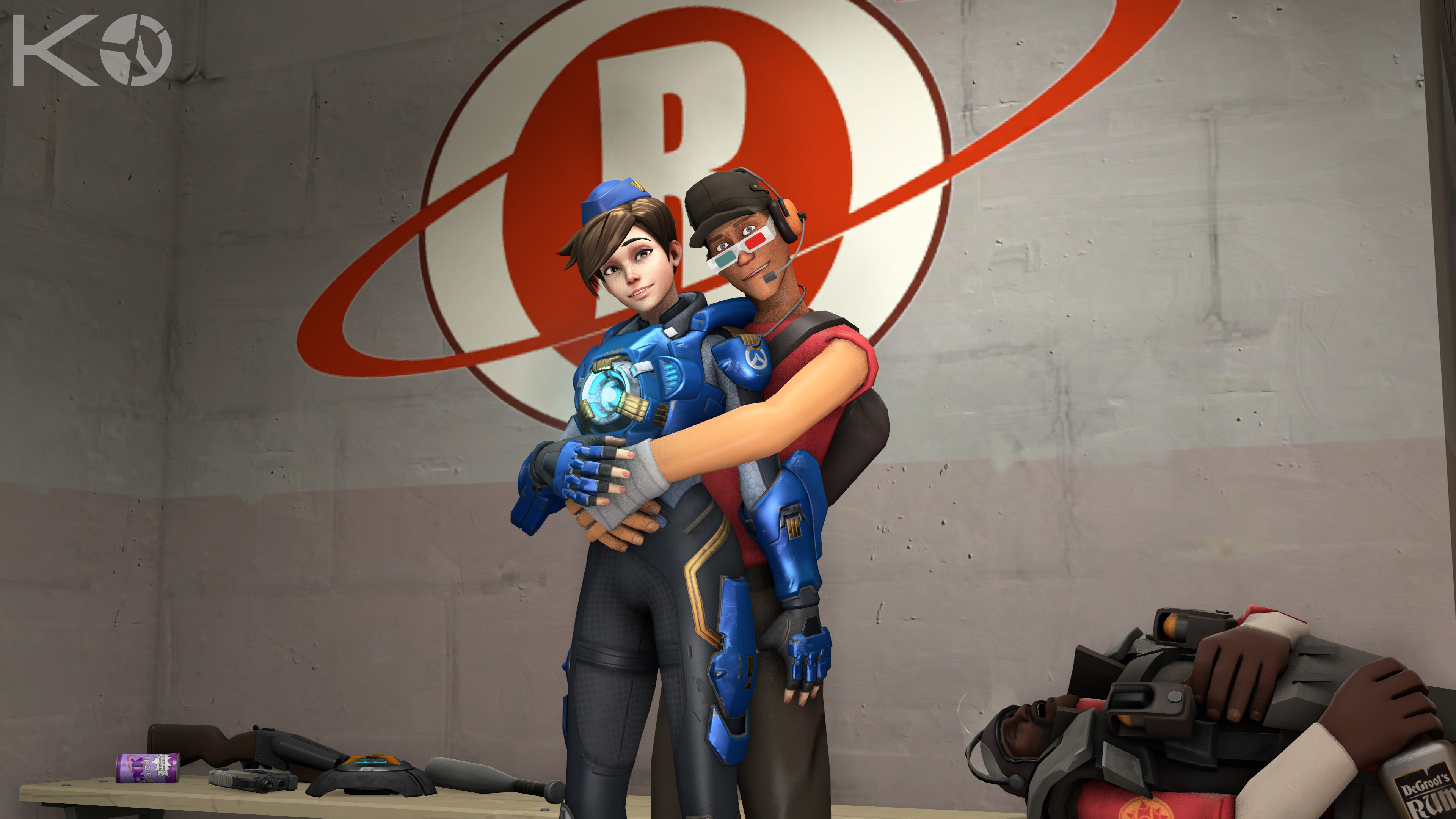 3840x2160 Video Game - Crossover Scout (Team Fortress) Tracer (Overwatch) Wallpaper