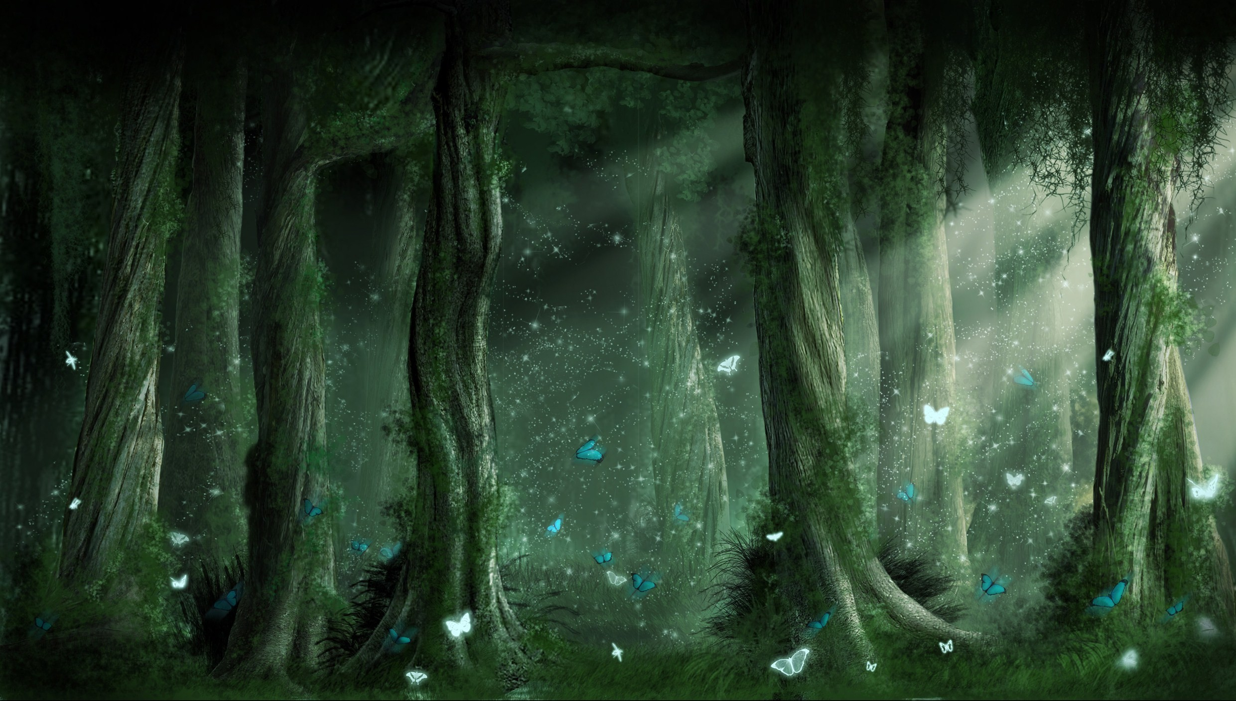 2481x1409 Fantasy Forest Backgrounds | Fantasy - Forest Wallpaper