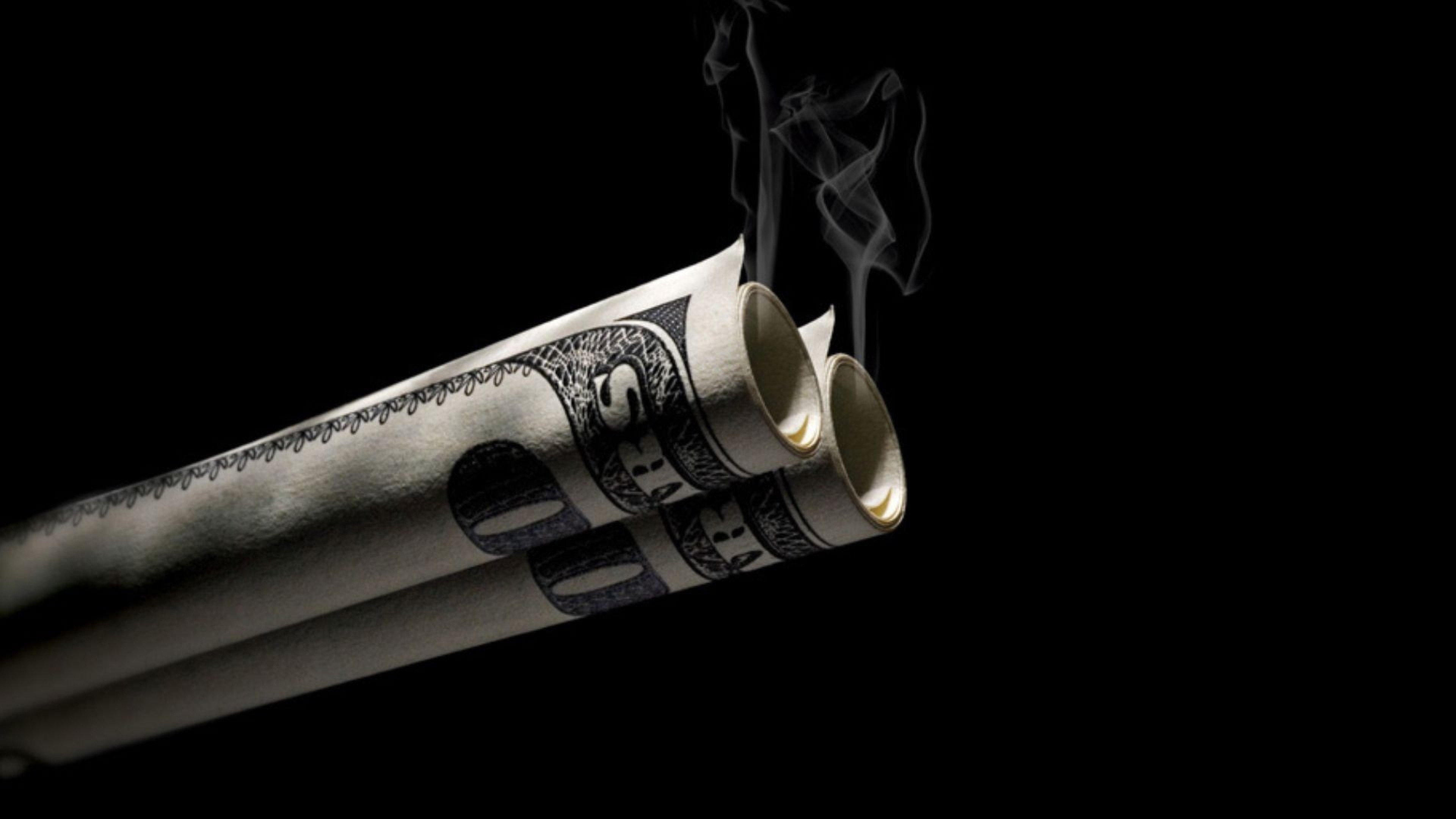 3840x2160 Preview wallpaper dollar, bills, smoke, background