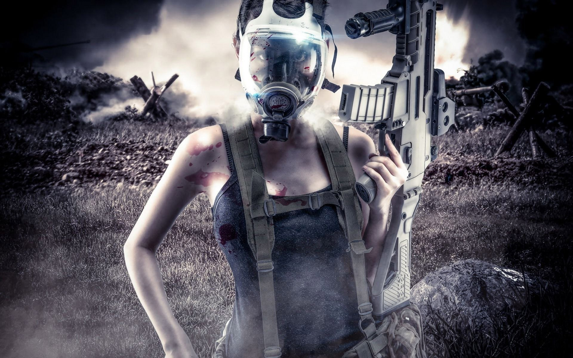 1920x1200 Woman With Gun And Gas Mask Wallpaper