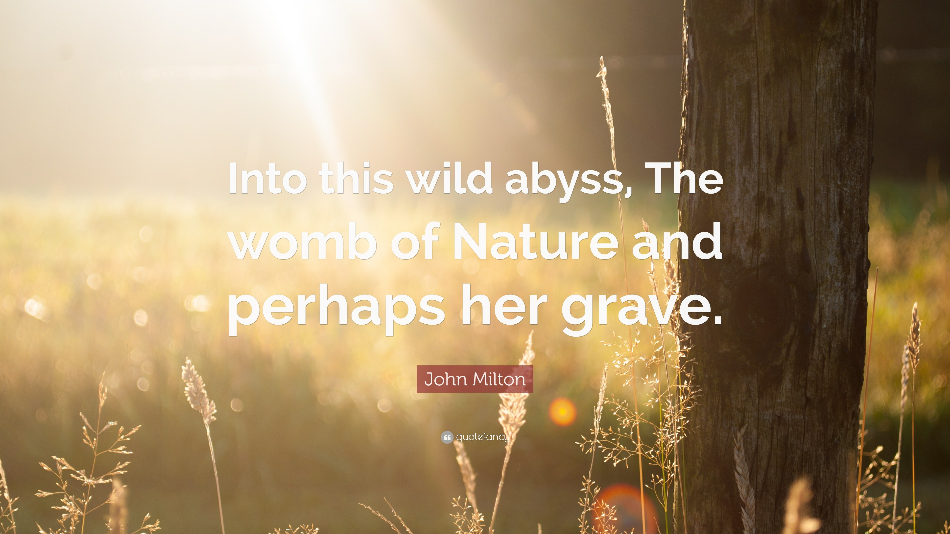 "3840x2160 John Milton Quote: ""Into this wild abyss, The womb of Nature and perhaps"
