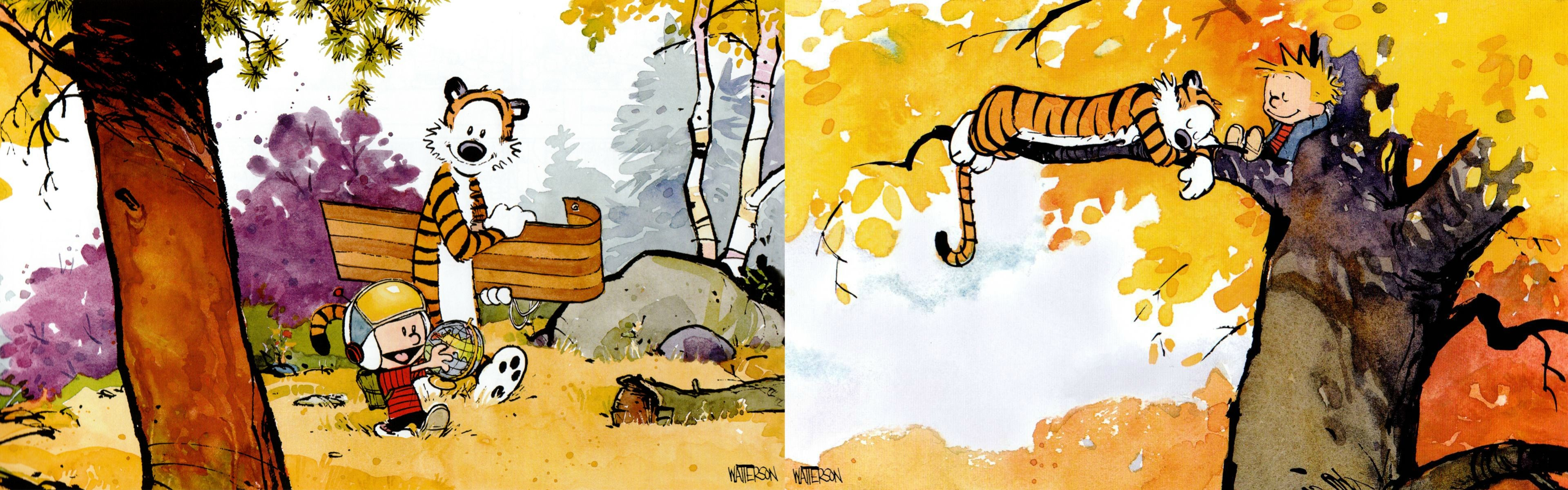 3839x1199 Dual Screen Wallpapers - Calvin and Hobbes