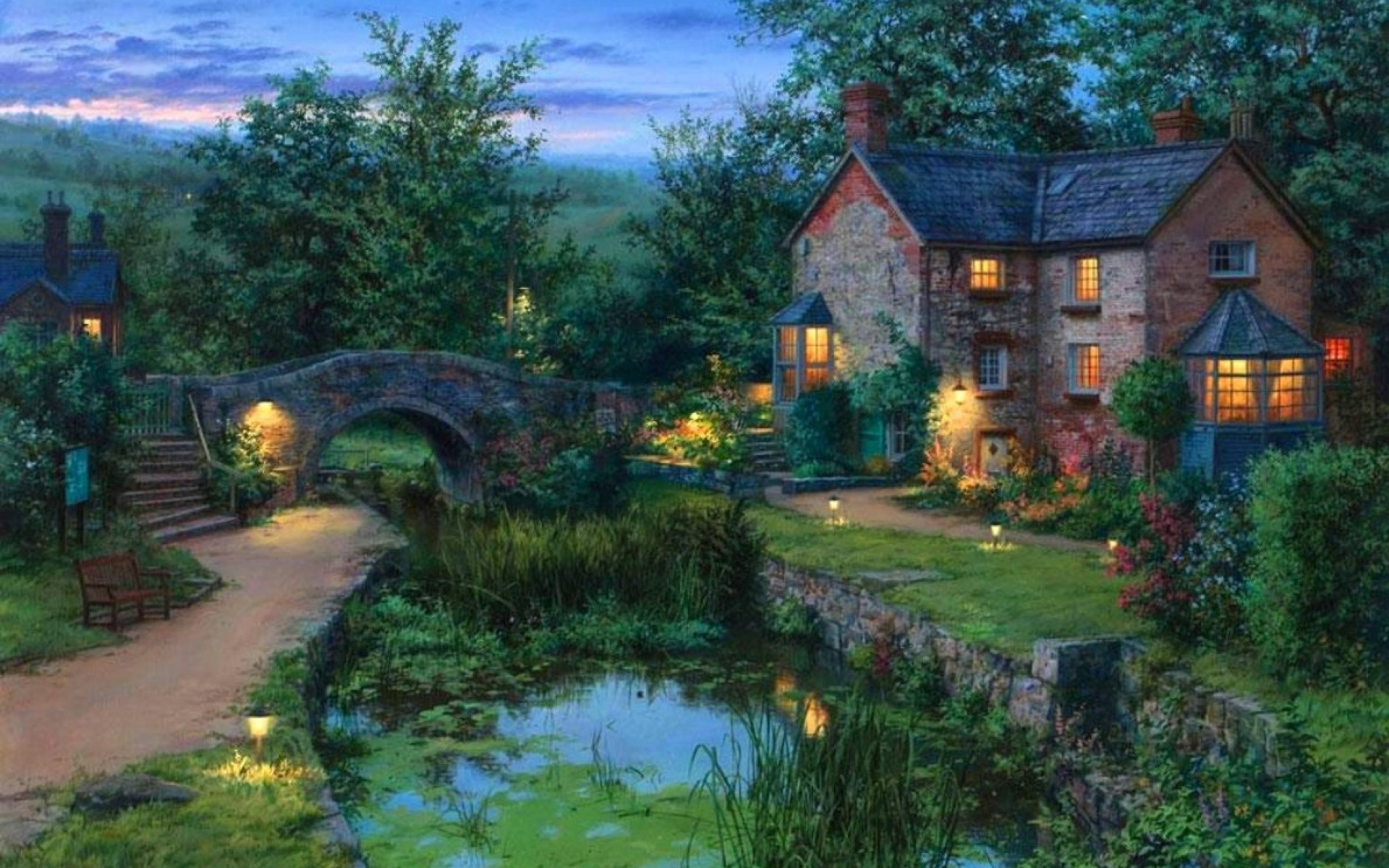 1920x1200 Image: Cottage Bridge Pond Garden Dim wallpapers and stock photos. Â«
