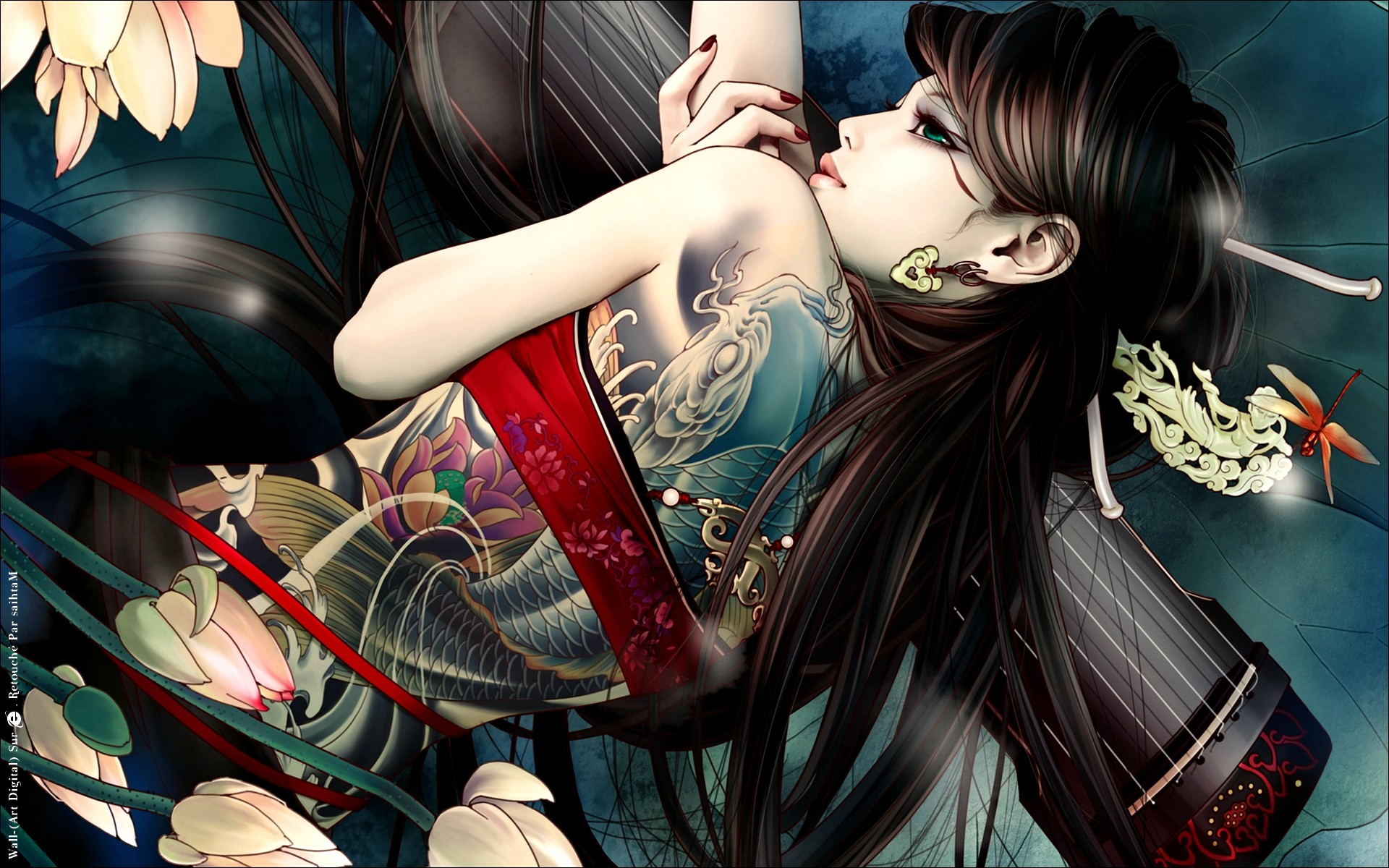 1920x1200 Beautiful Cool Girl Back Tattoo Anime HD Wallpaper Desktop PC Background  1803