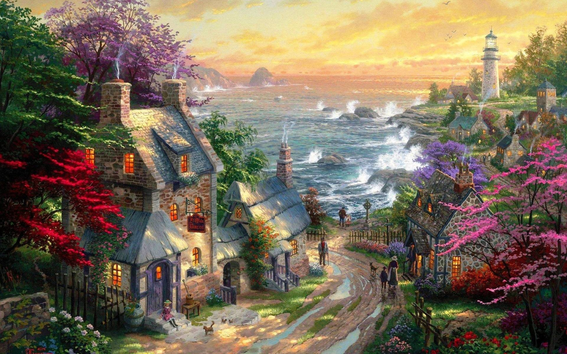 1920x1200 Wallpapers For > Thomas Kinkade Disney Dreams Collection Wallpaper