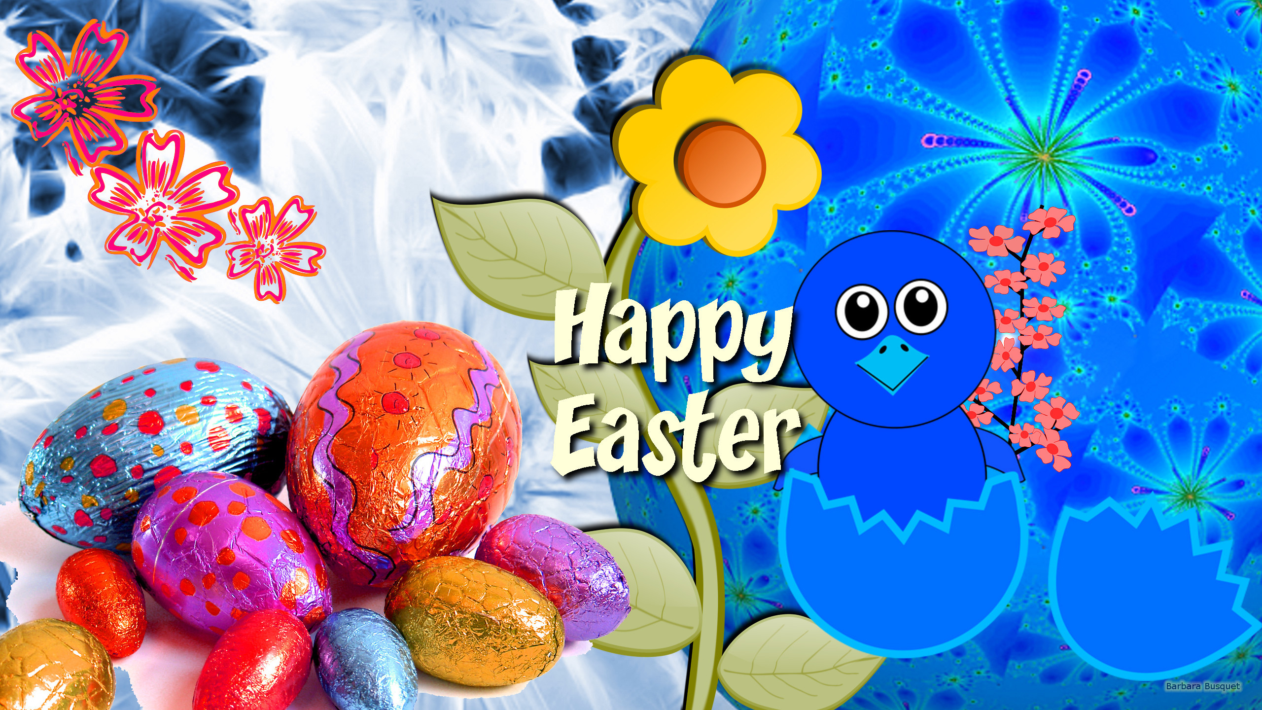 2560x1440 Easter wallpaper with text and eggs.