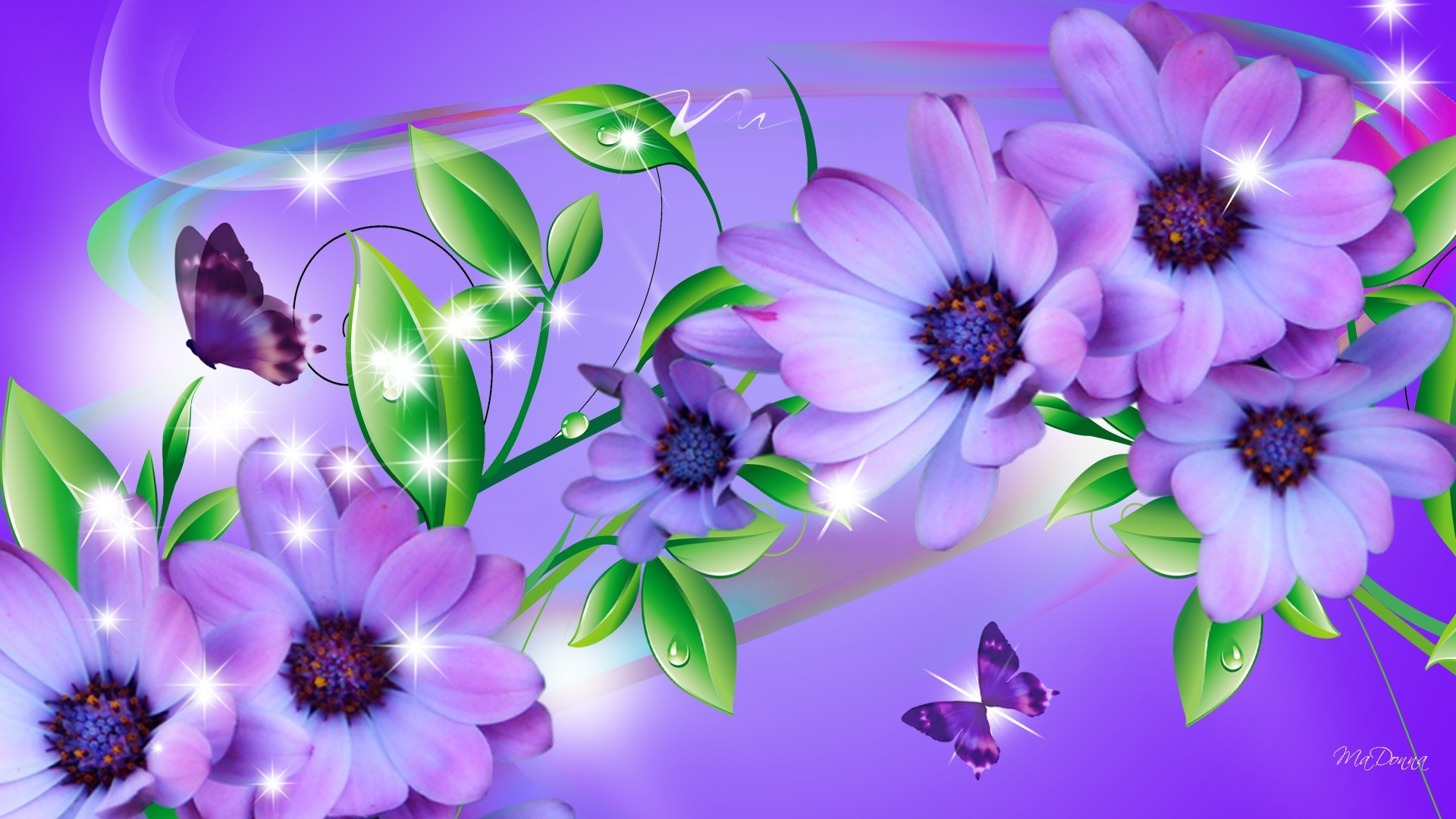 1920x1080 Butterfly on purple flower wallpaper