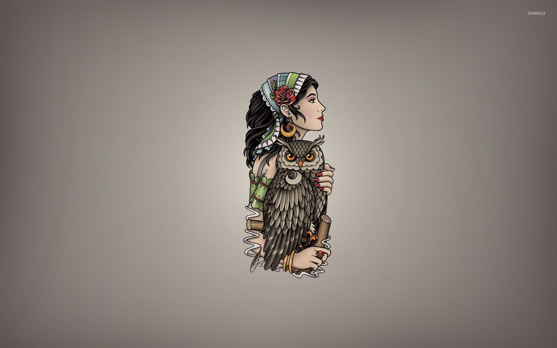 1920x1200 Girl with a scarf holding the owl wallpaper
