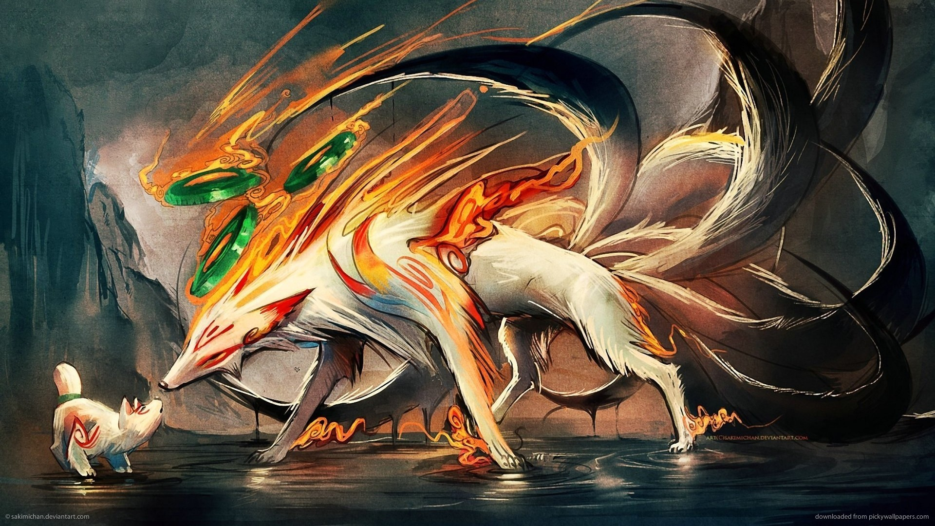 1920x1080 Nine Tailed Fox and Pup for