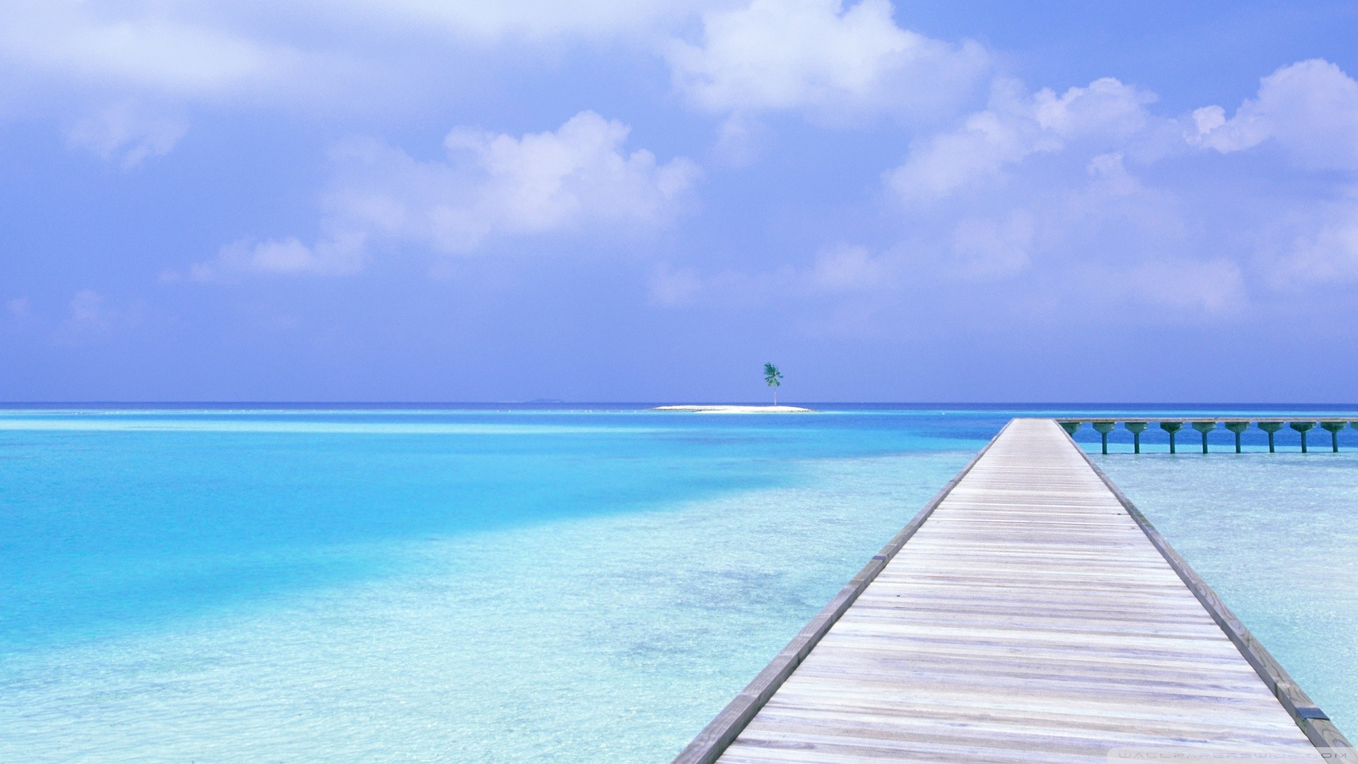 1920x1080 Over Blue Ocean Wallpaper  Footbridge, Over, Blue, Ocean .