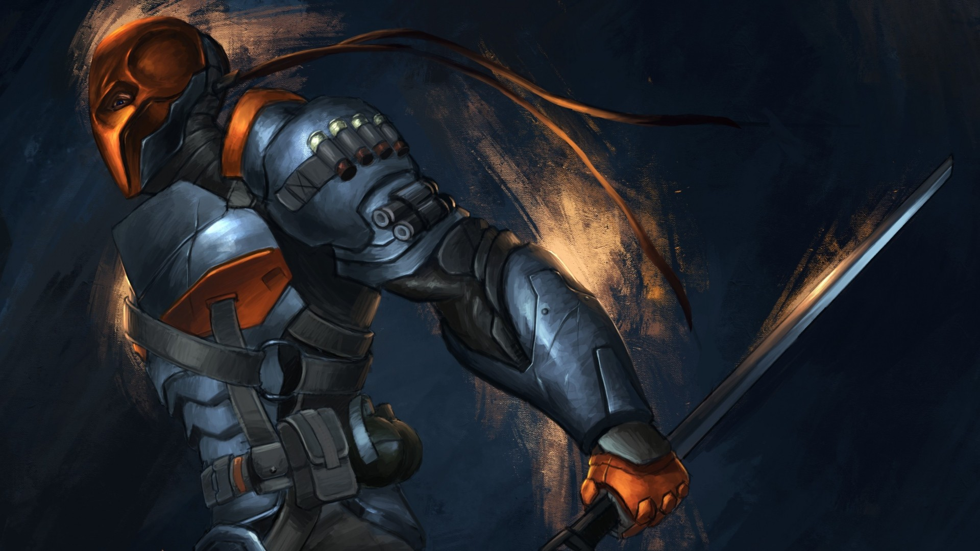 1920x1080  Wallpaper batman, arkham origins, deathstroke, sword, armor, art