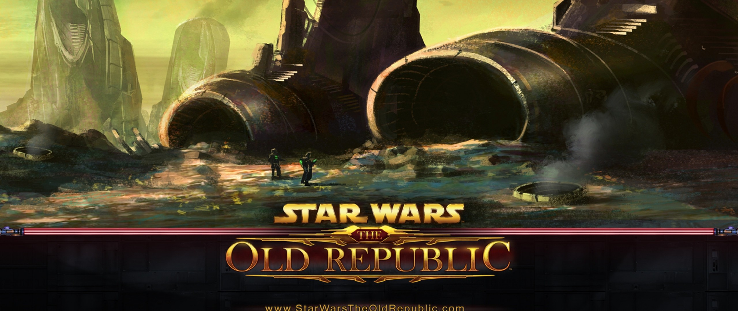 2560x1080 Preview wallpaper star wars the old republic, airplane, crash, fan art