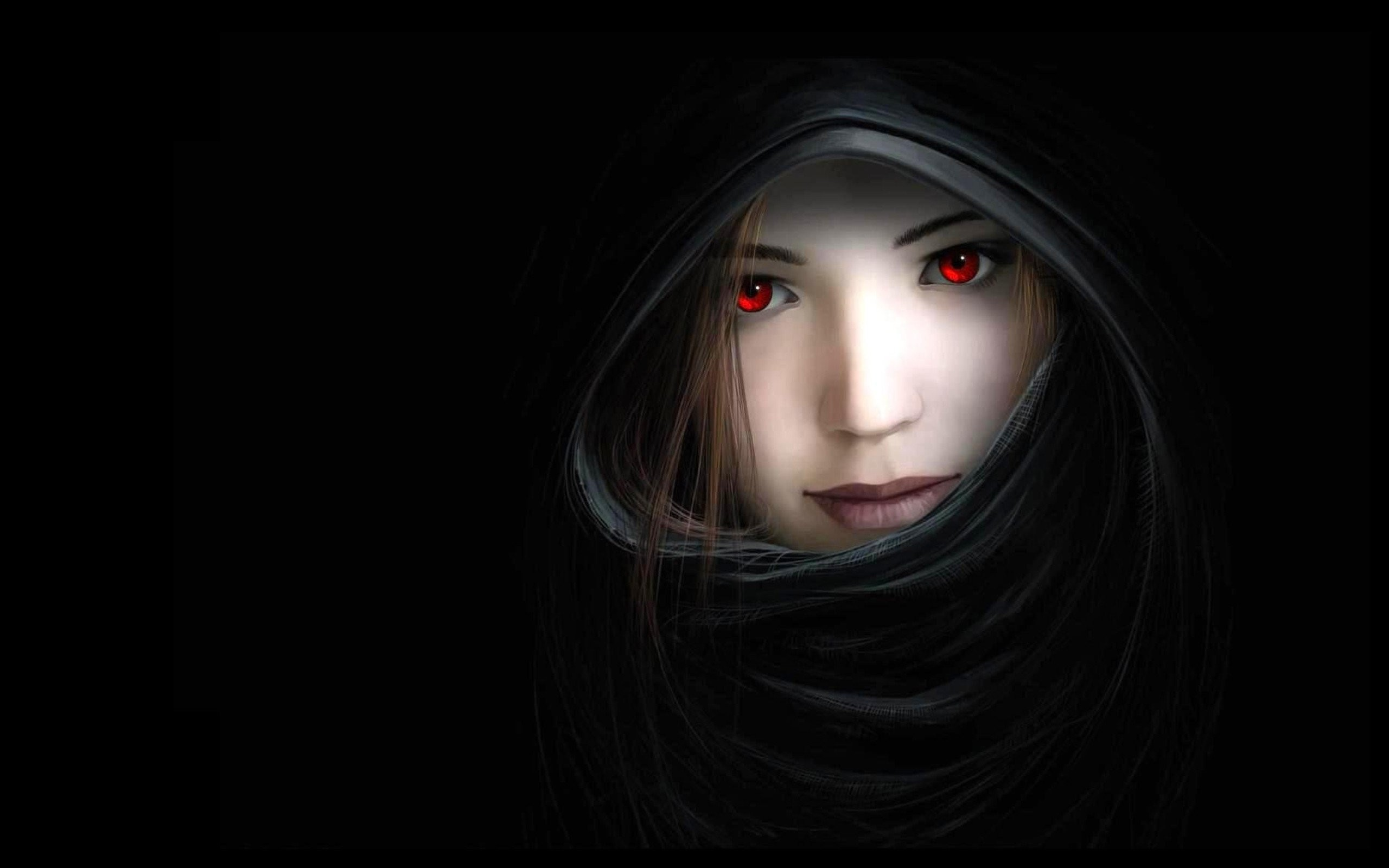 2560x1600 Artwork Black Background Dark Hooded Mouth Noses Red Eyes Witches Women