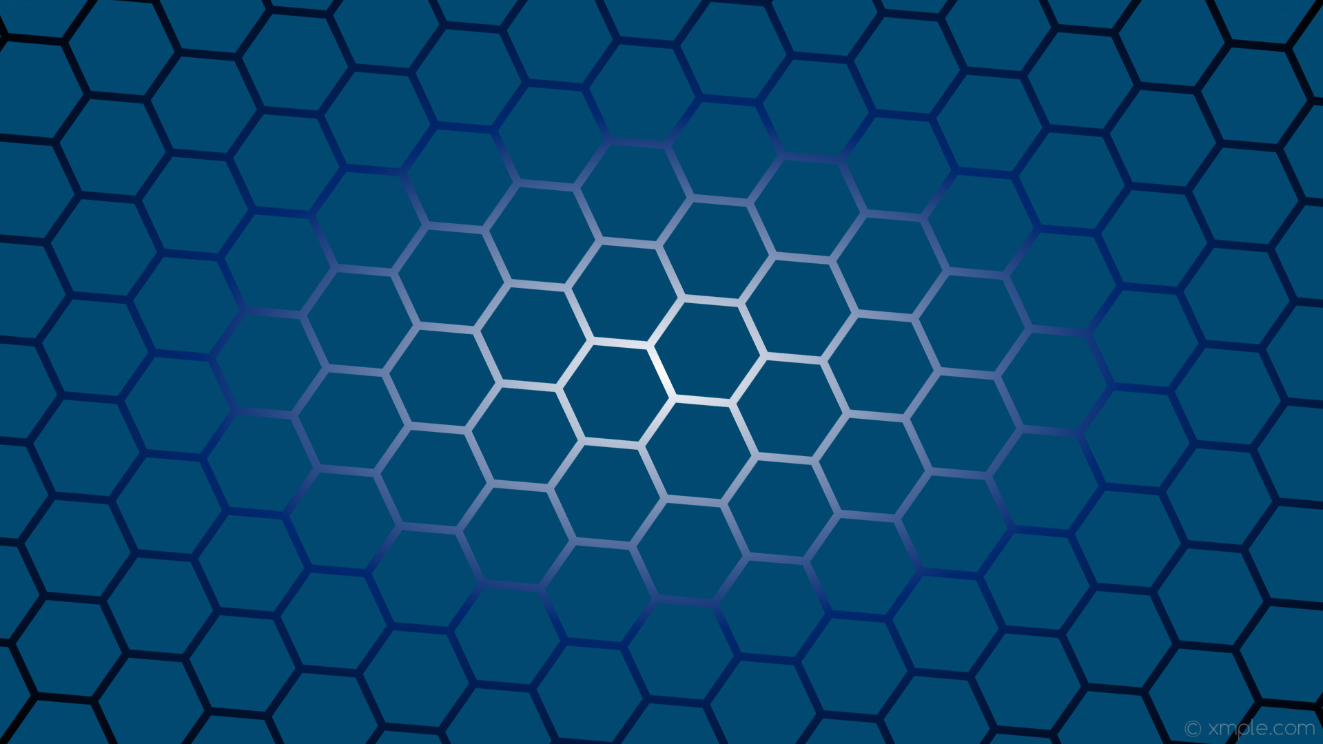 1920x1080 wallpaper gradient azure black hexagon glow white #014970 #ffffff #012870  diagonal 25°