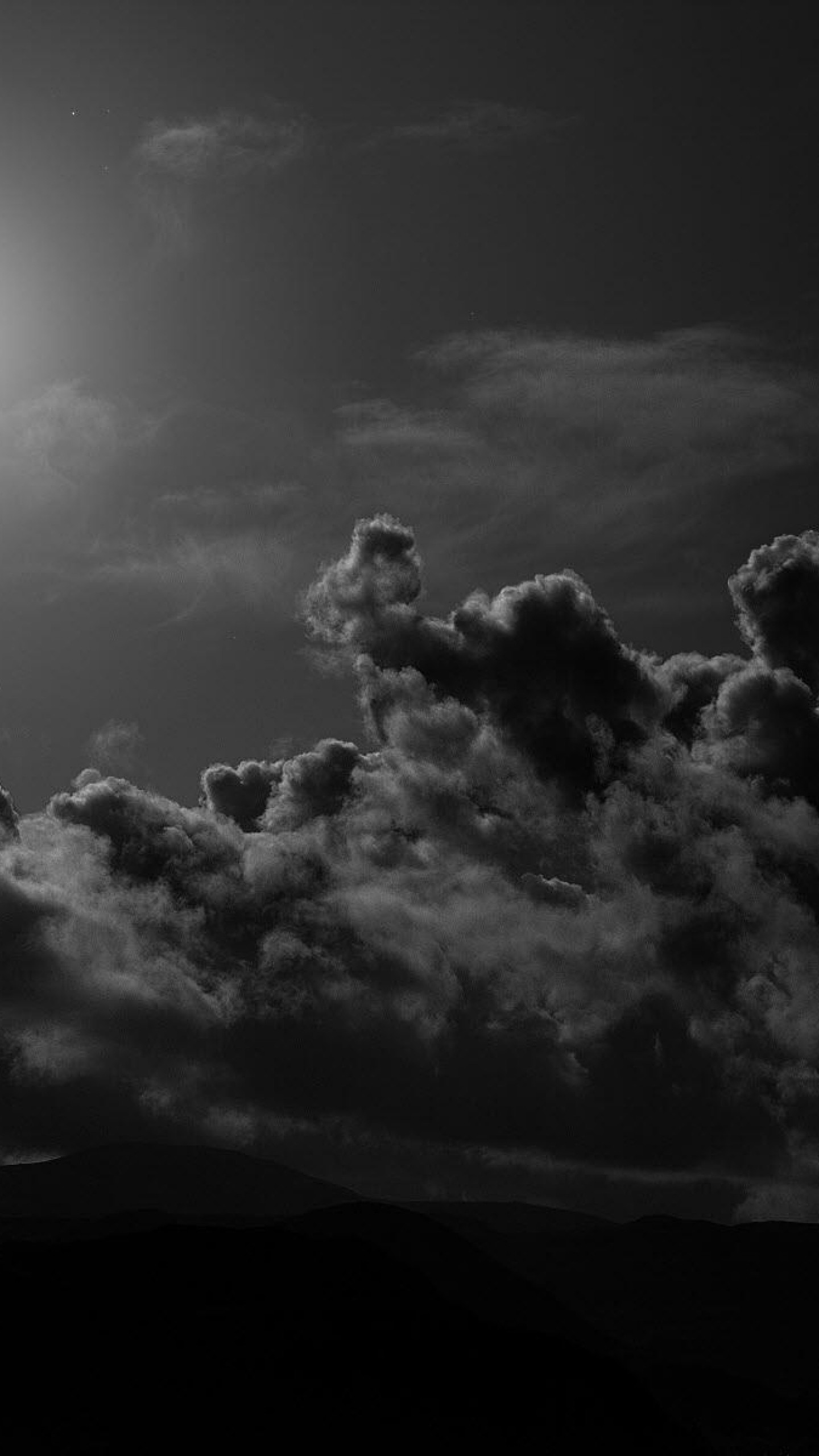 1440x2560 Preview wallpaper moon, clouds, sky, black-and-white