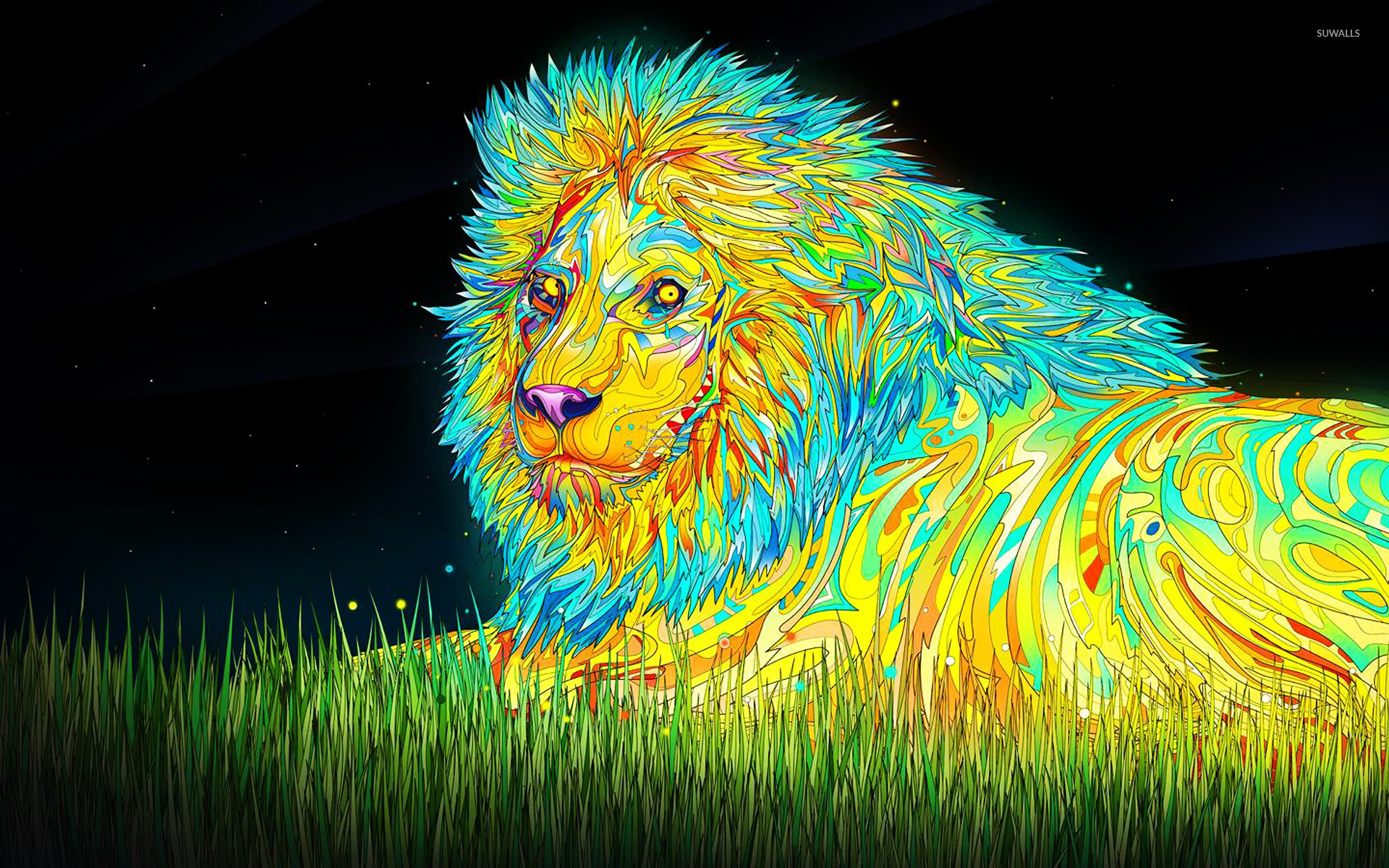 1920x1200 Psychoactive lion wallpaper
