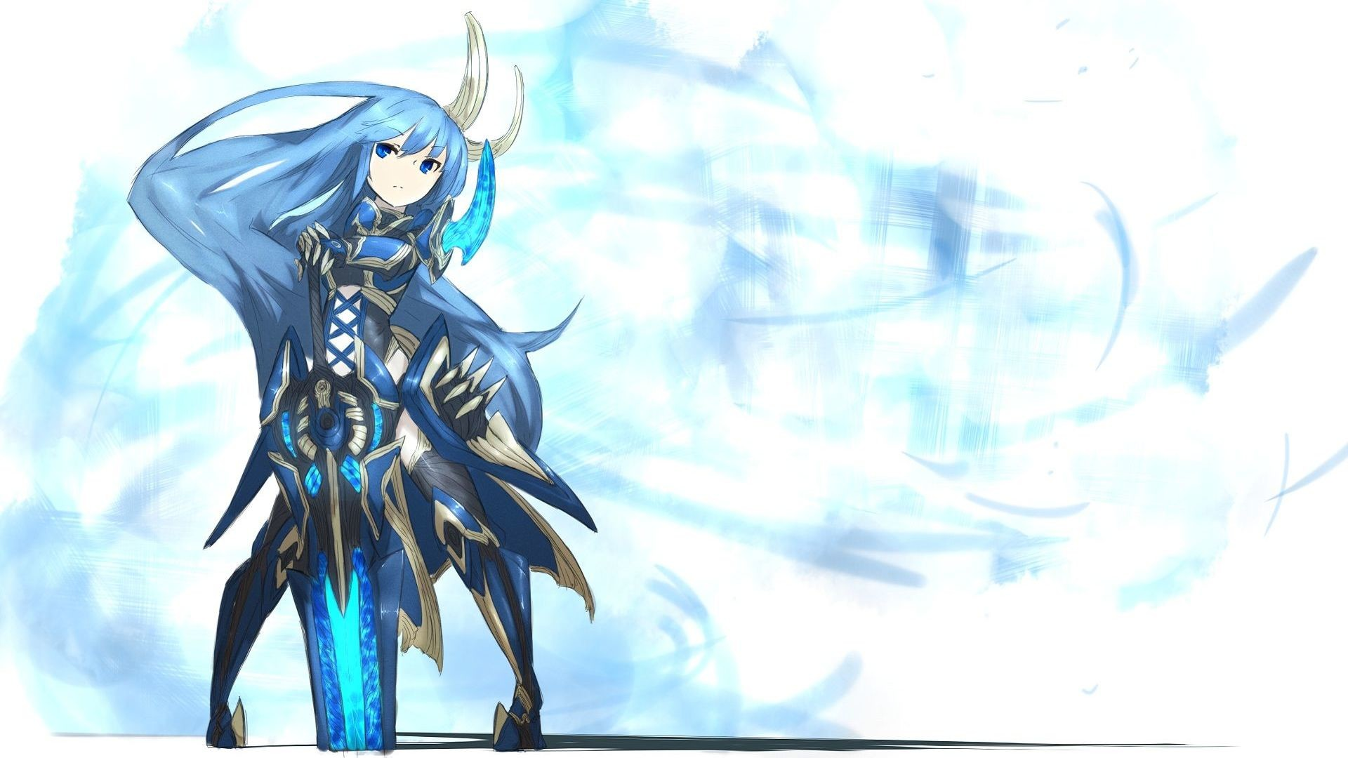 1920x1080 Blue girl with a sword HD Wallpaper  Blue ...