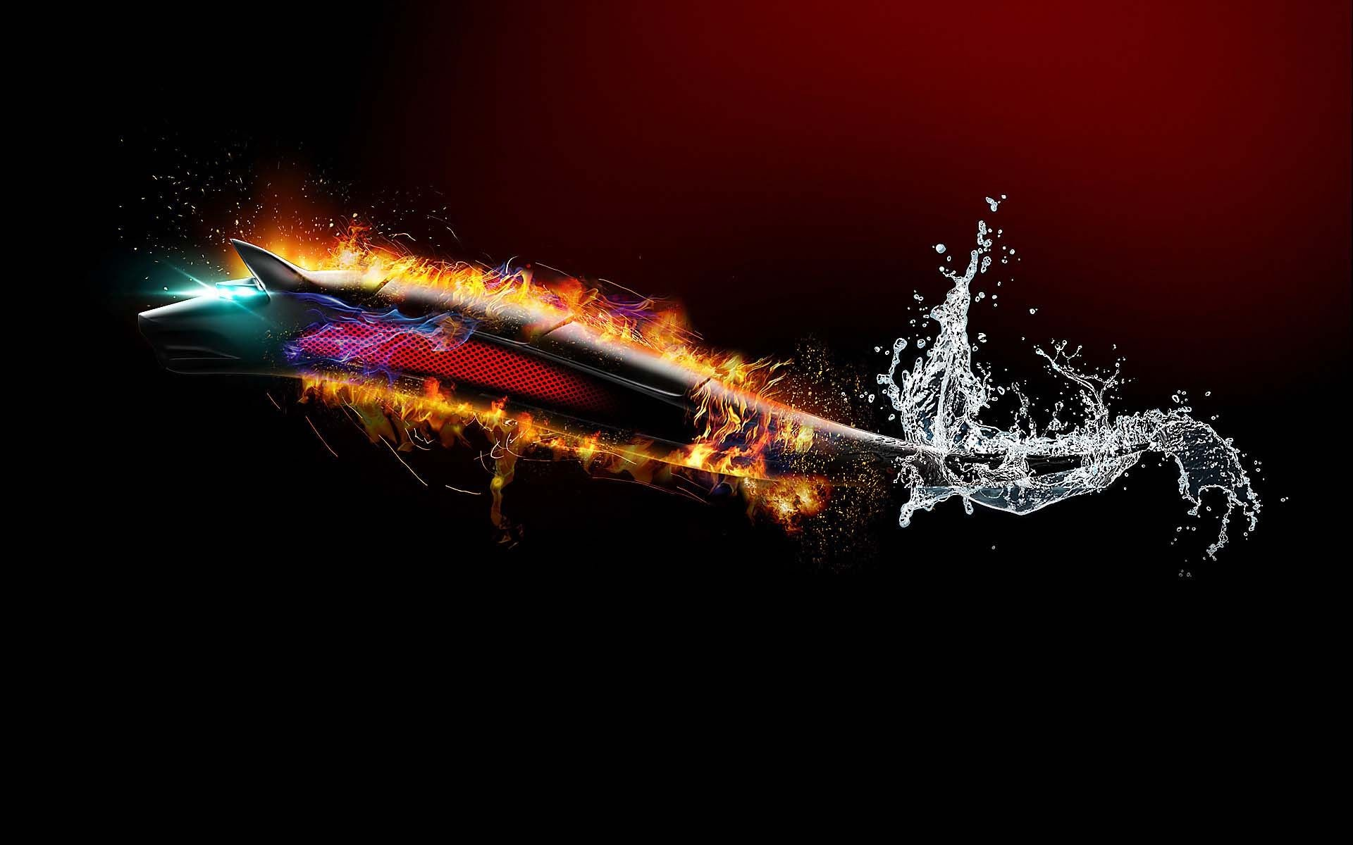 1920x1200 Flaming Wolf From Water | HD 3D and Abstract Wallpaper Free Download ...
