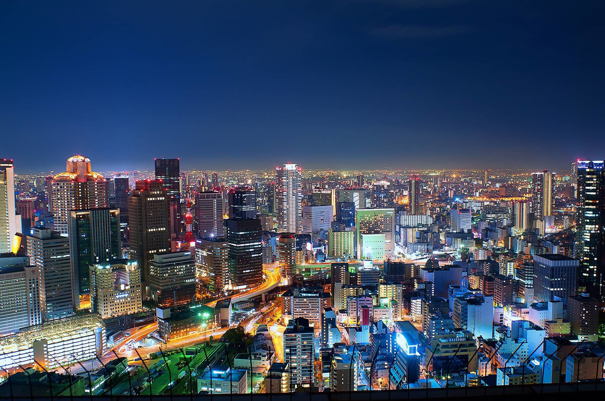 2048x1360 Wallpaper japan, metropolis, osaka, night lights wallpapers city .