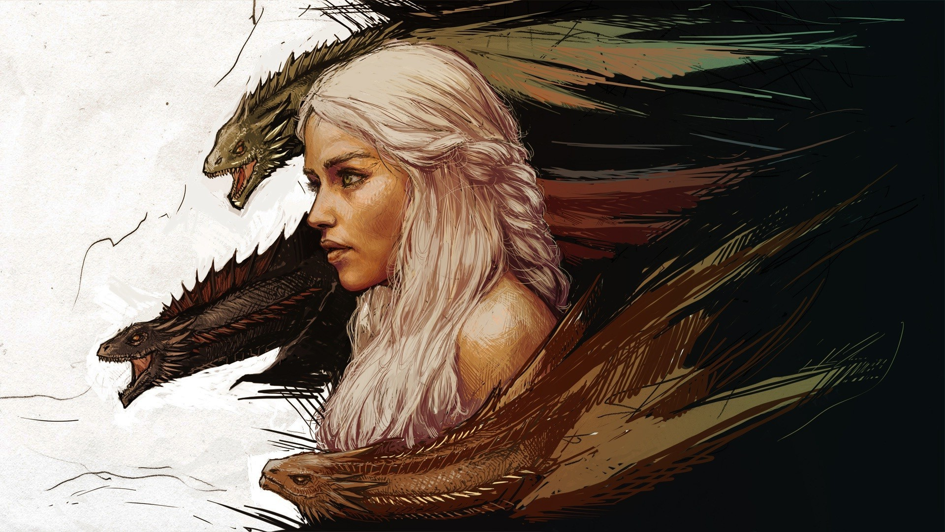 1920x1080 A Song Of Ice And Fire, Anime, White Hair, Daenerys Targaryen, Women,  Dragon, Game Of Thrones Wallpapers HD / Desktop and Mobile Backgrounds