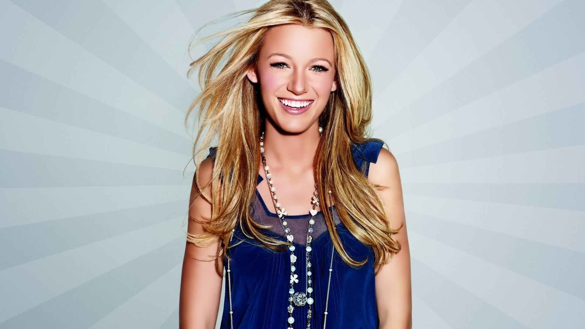 1920x1080 Blake Lively In Blue Dress | 1920 x 1080 ...