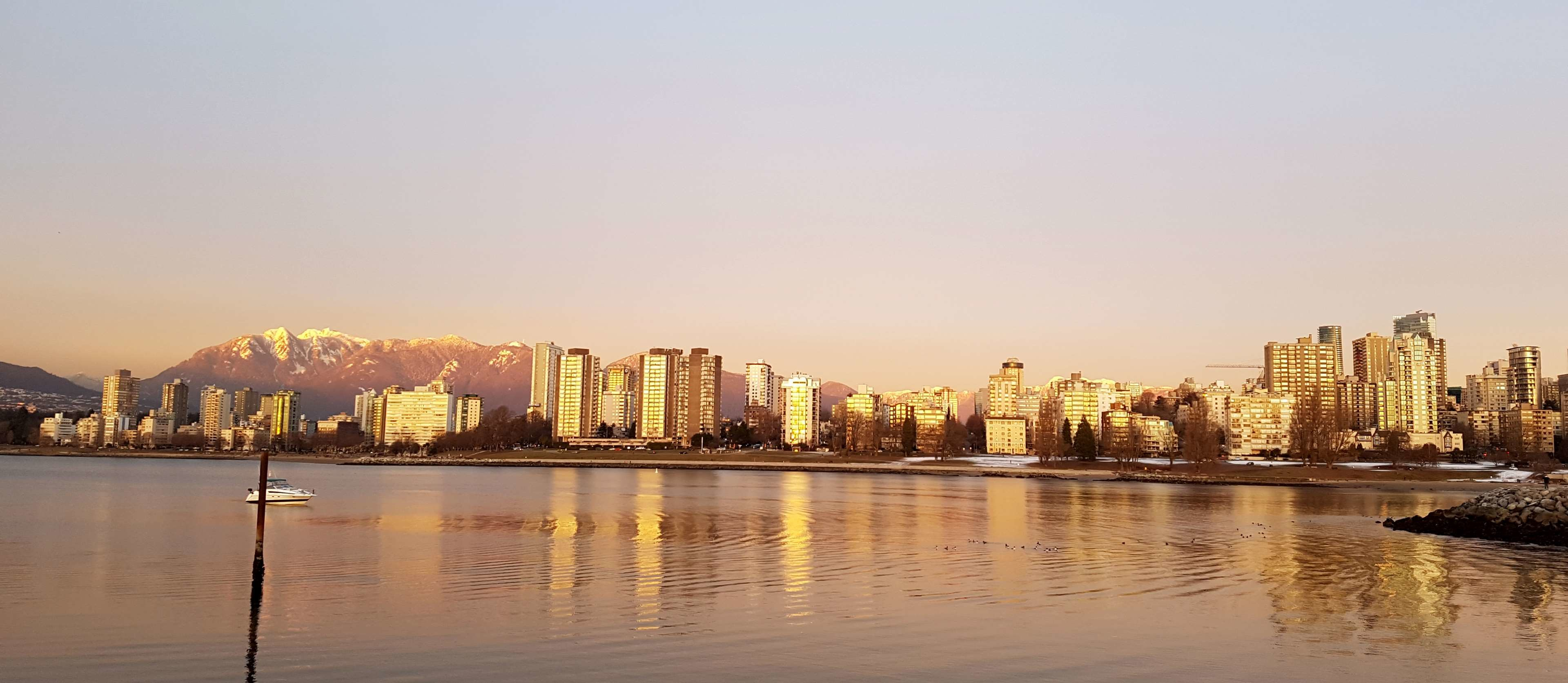 3840x1674 bay, cityscape, gold, skyline, sunset, vancouver 4k wallpaper and background