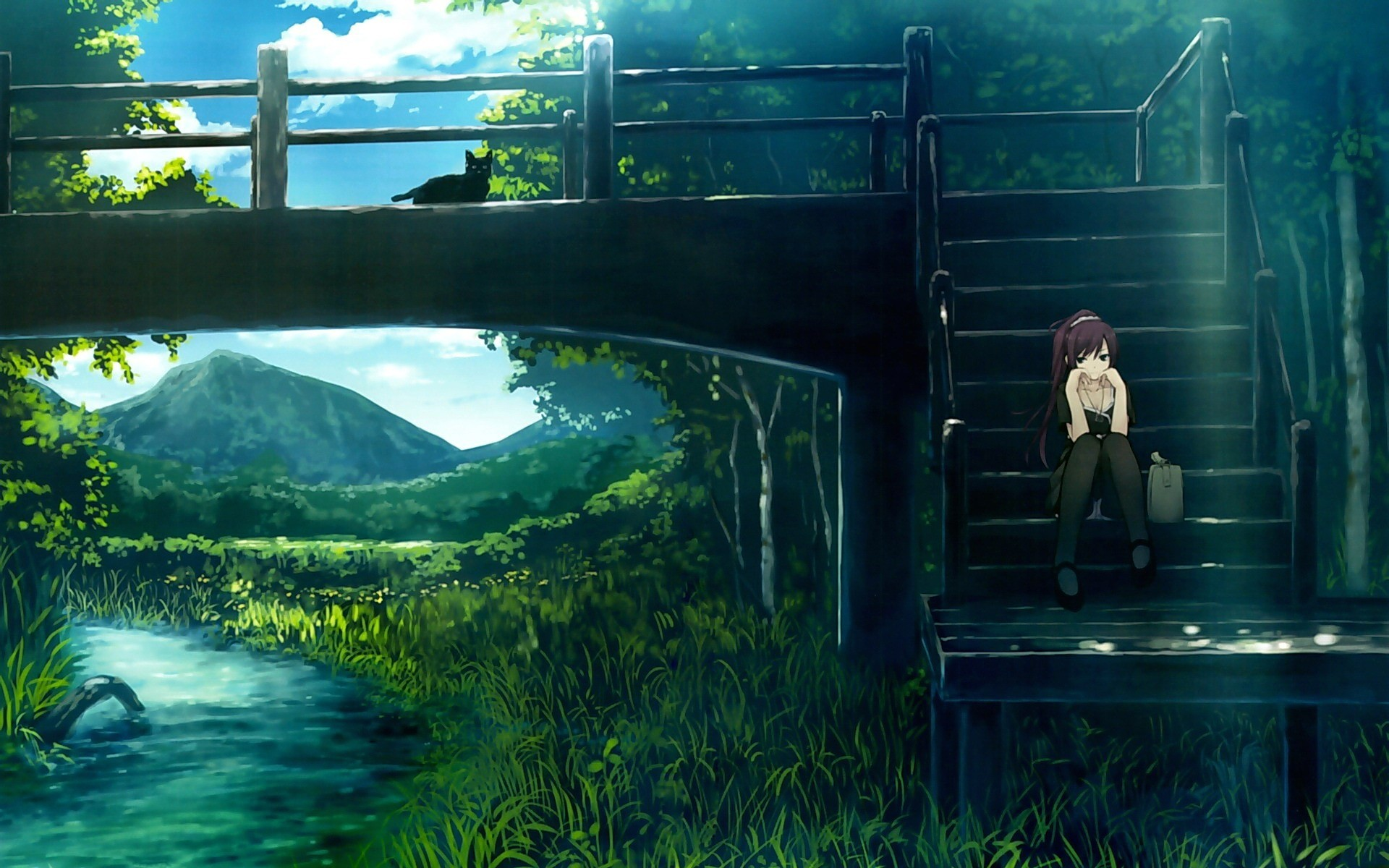 1920x1200 Anime Nature scenery Wallpaper bridge river