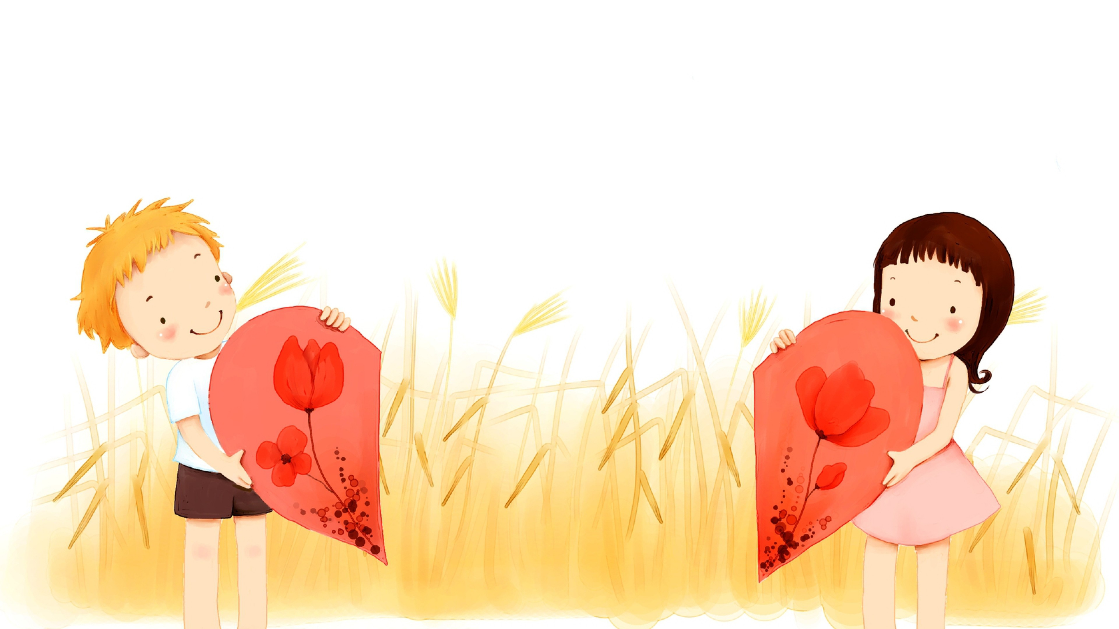 3840x2160  Wallpaper children, grass, heart, part