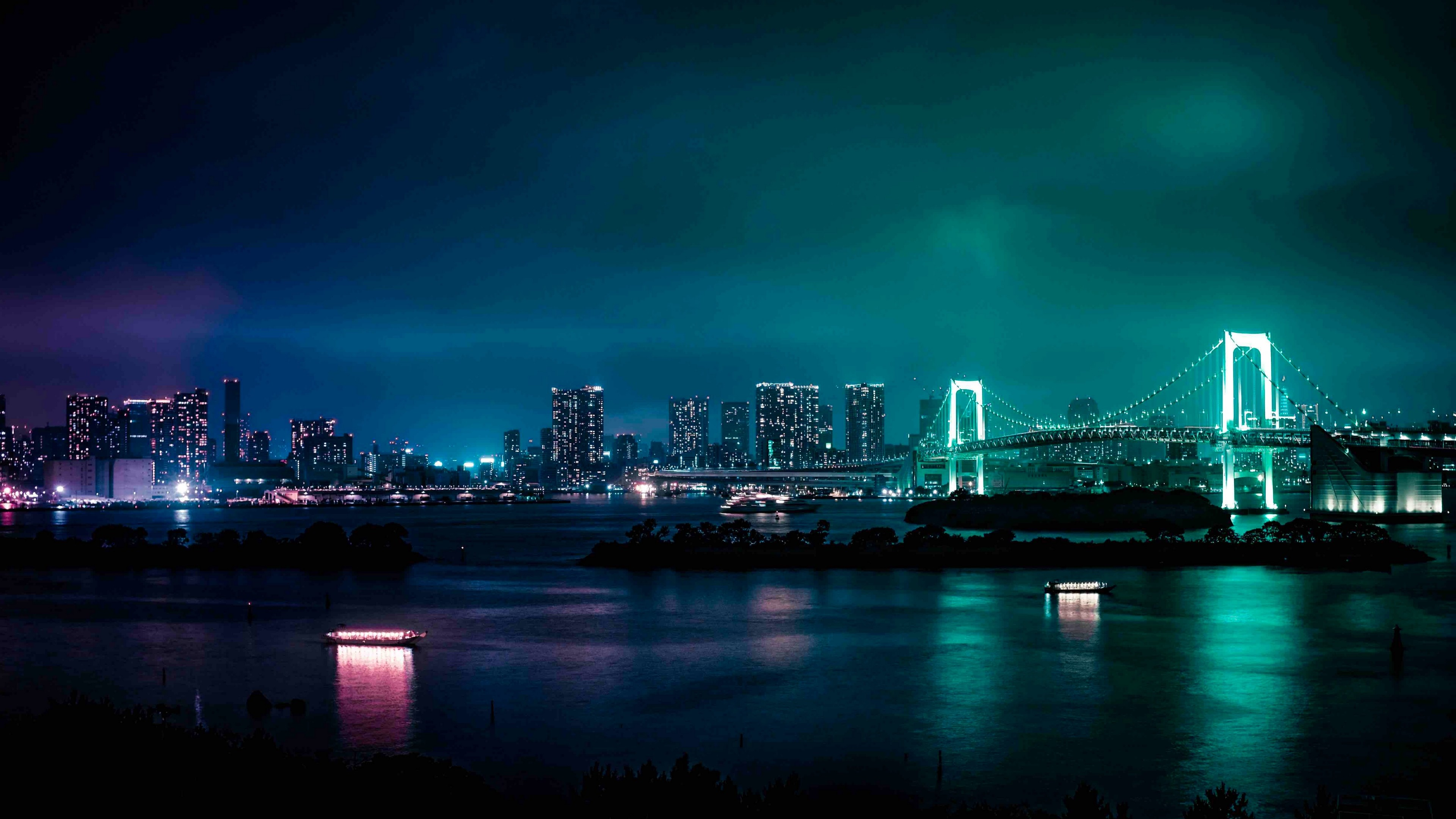 3840x2160  Wallpaper minato, japan, night city, bridge