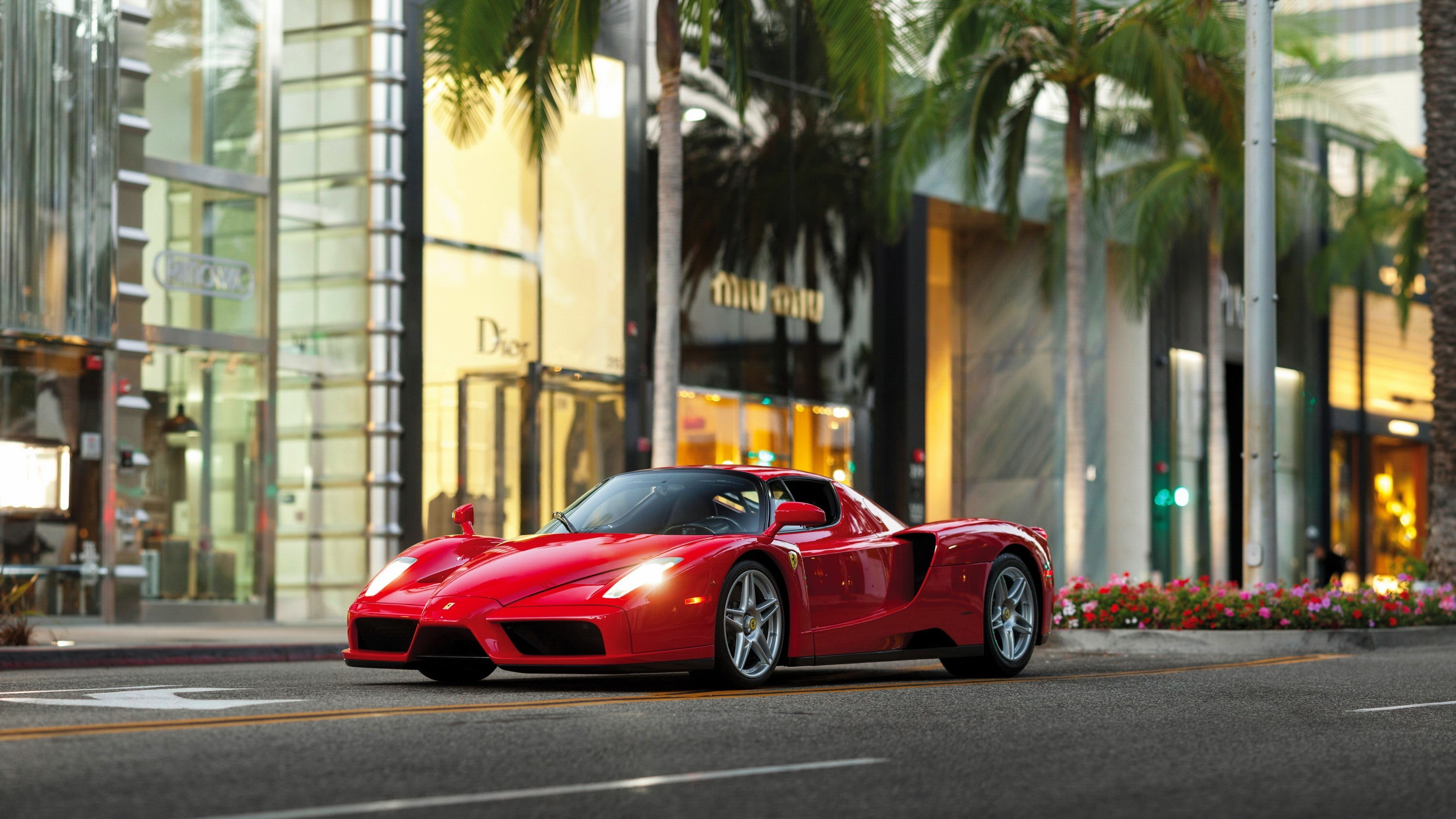 3000x1688 car, Street, Ferrari, Palm Trees, Ferrari Enzo Wallpapers HD / Desktop and  Mobile Backgrounds
