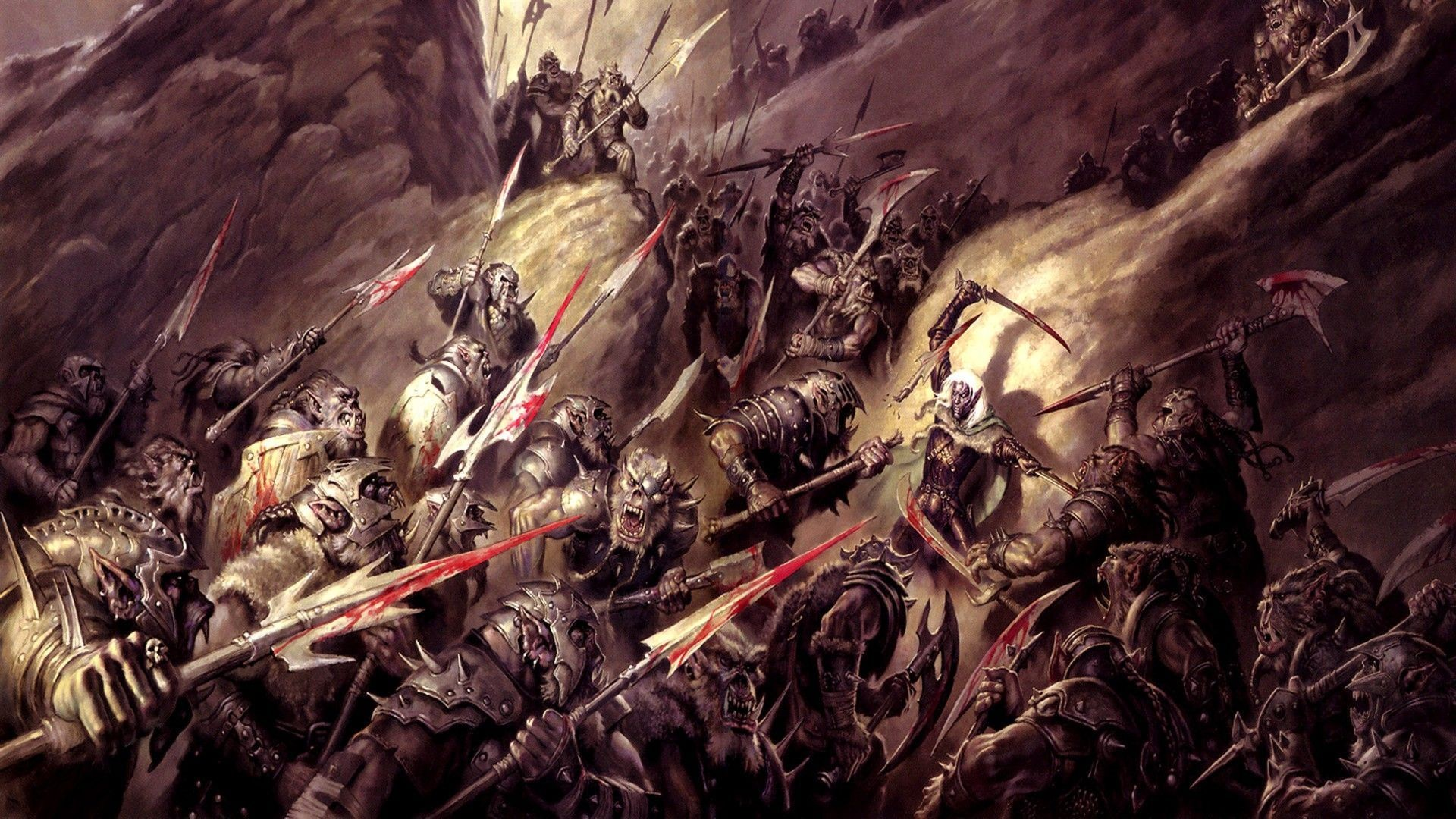 1920x1080 fantasy art, armor, dnd, orcs, axes, Dungeons and Dragons, spears