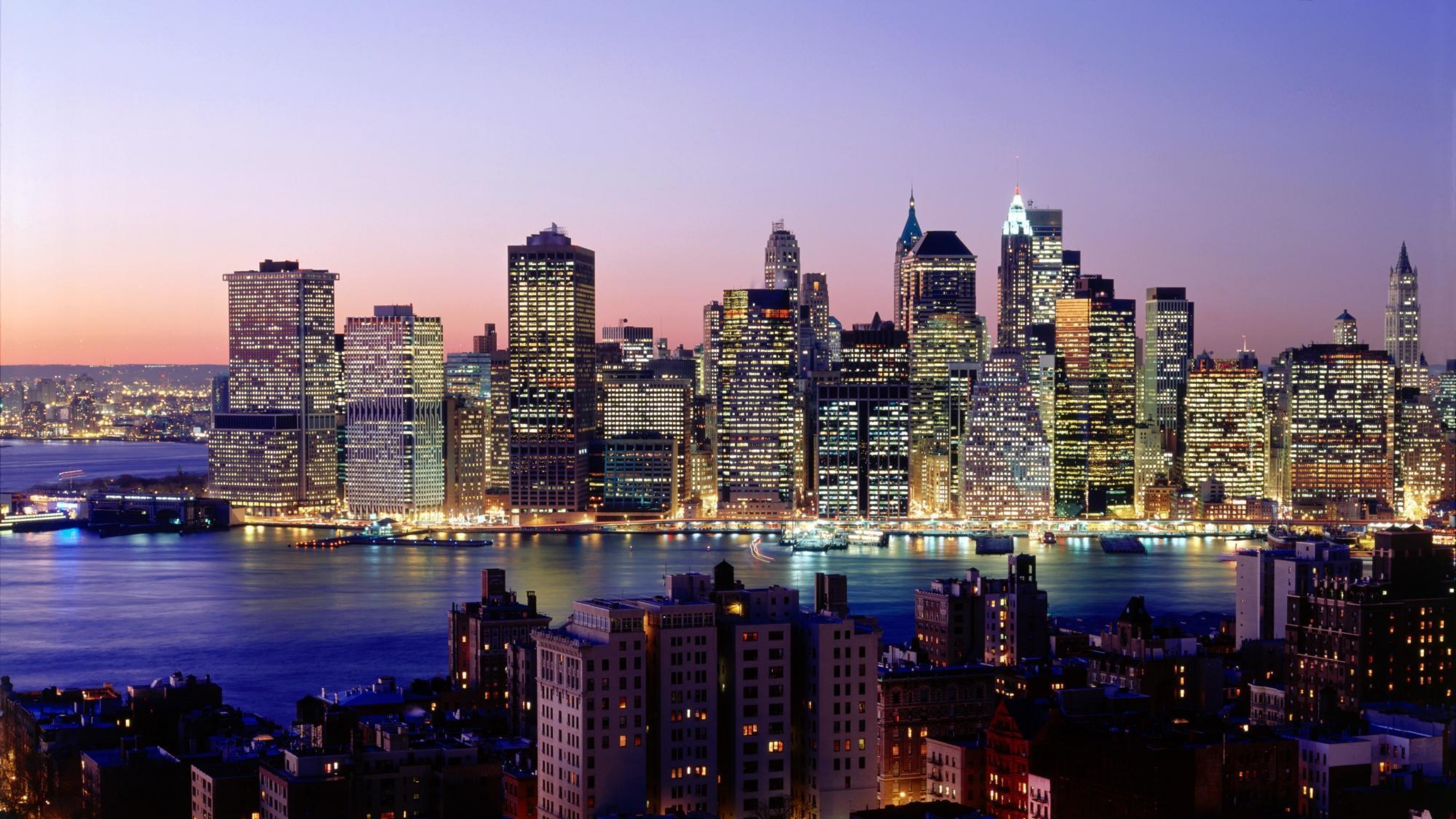 3840x2160  Wallpaper new york, skyscrapers, river, night, lights, city