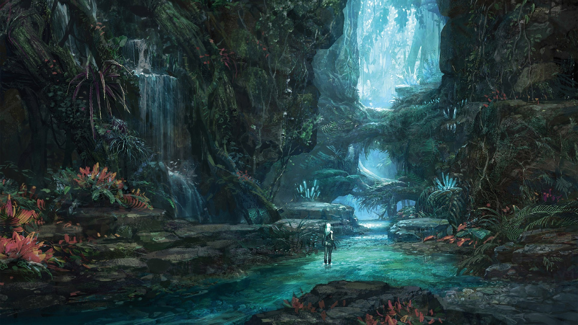 1920x1080 Video Game - Tera Waterfall Forest MMORPG Wallpaper
