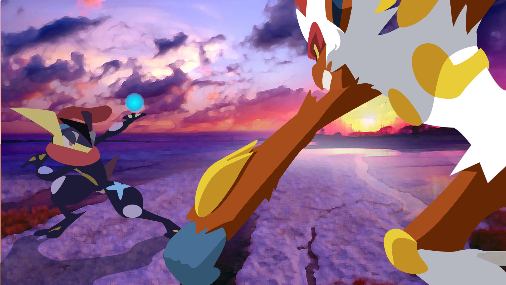 1920x1080 ... DrewJayJohnson Greninja-vs-Infernape-Sunset by DrewJayJohnson