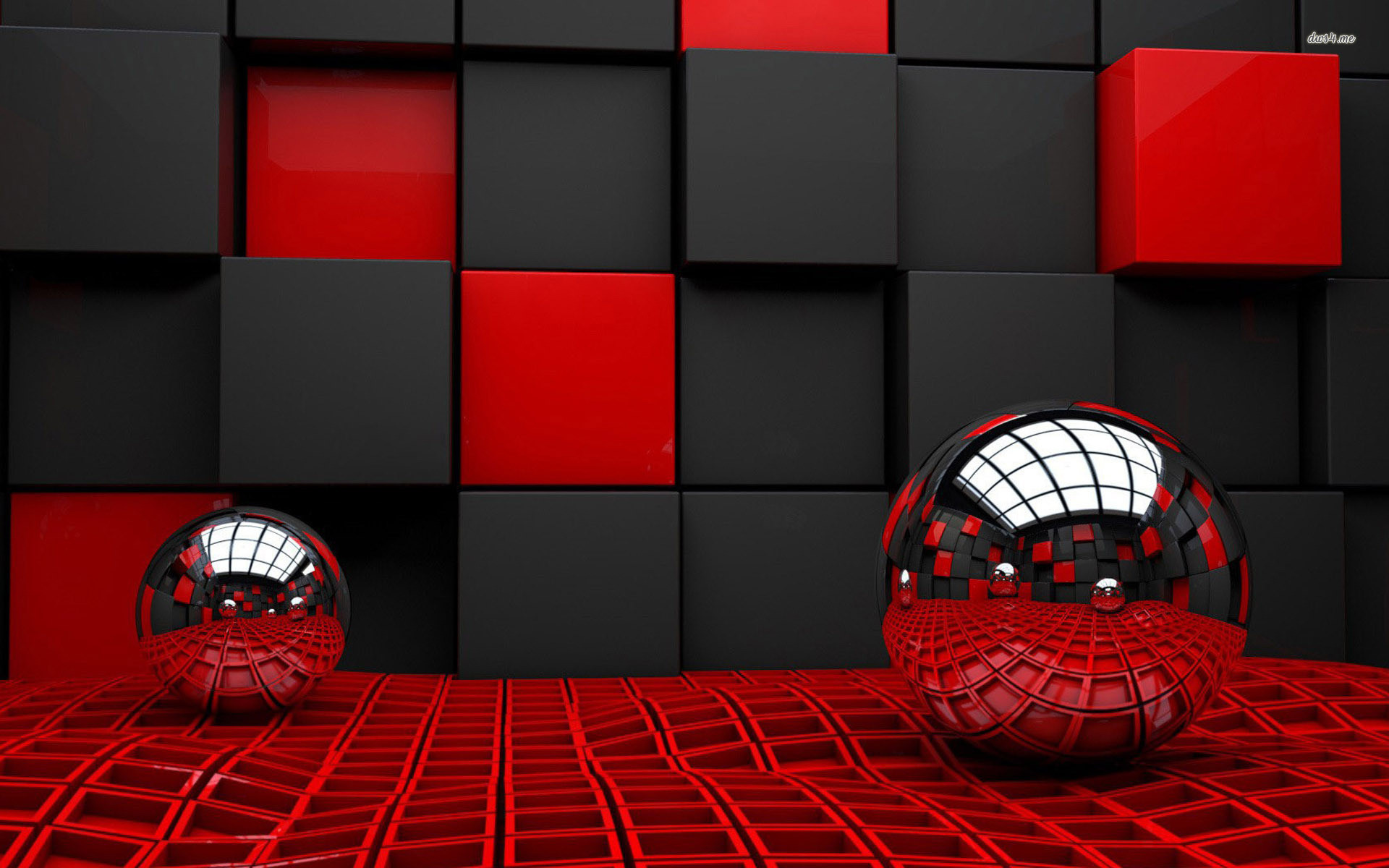 1920x1200 spheres reflecting the cube room wallpaper - 3D wallpapers - #12006 .