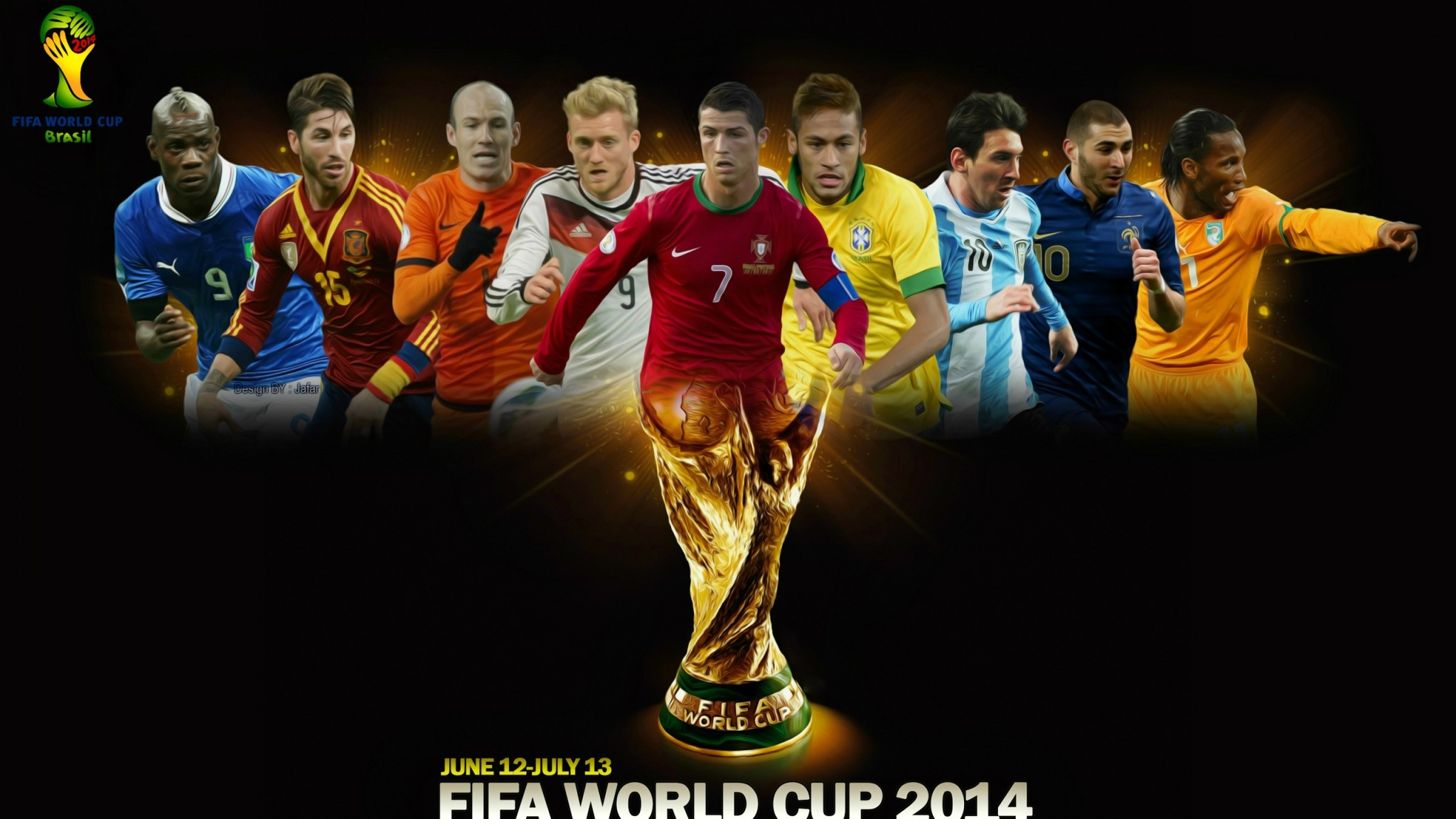 2048x1152 Preview wallpaper fifa world cup, brazil, 2014, football, world cup, poster