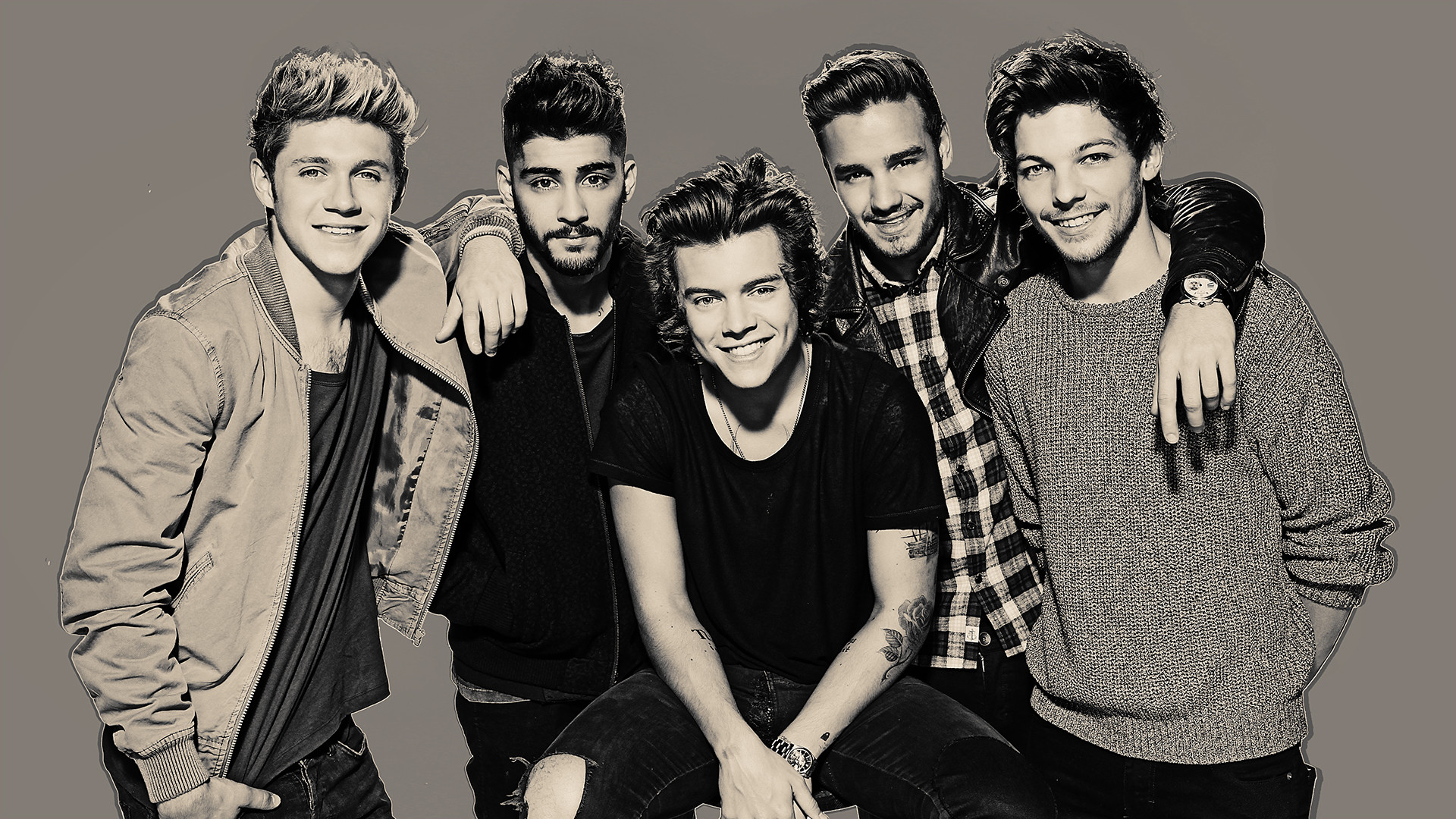1920x1080 Black and white One Direction Wallpapers HD.