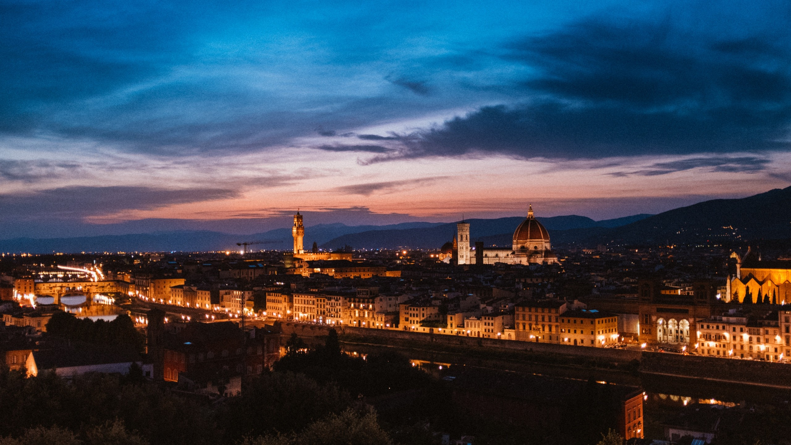 2560x1440 HD Wallpaper Florence, Intaly, Night City