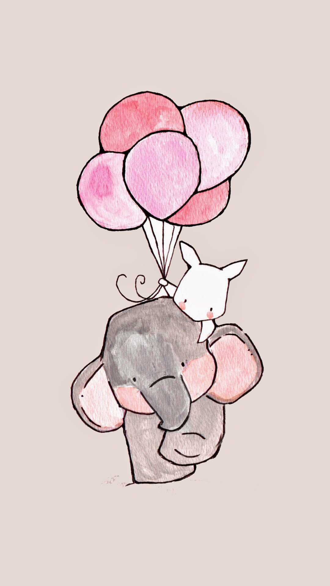 1080x1920 iphone wallpaper girly elephant and rabbit.