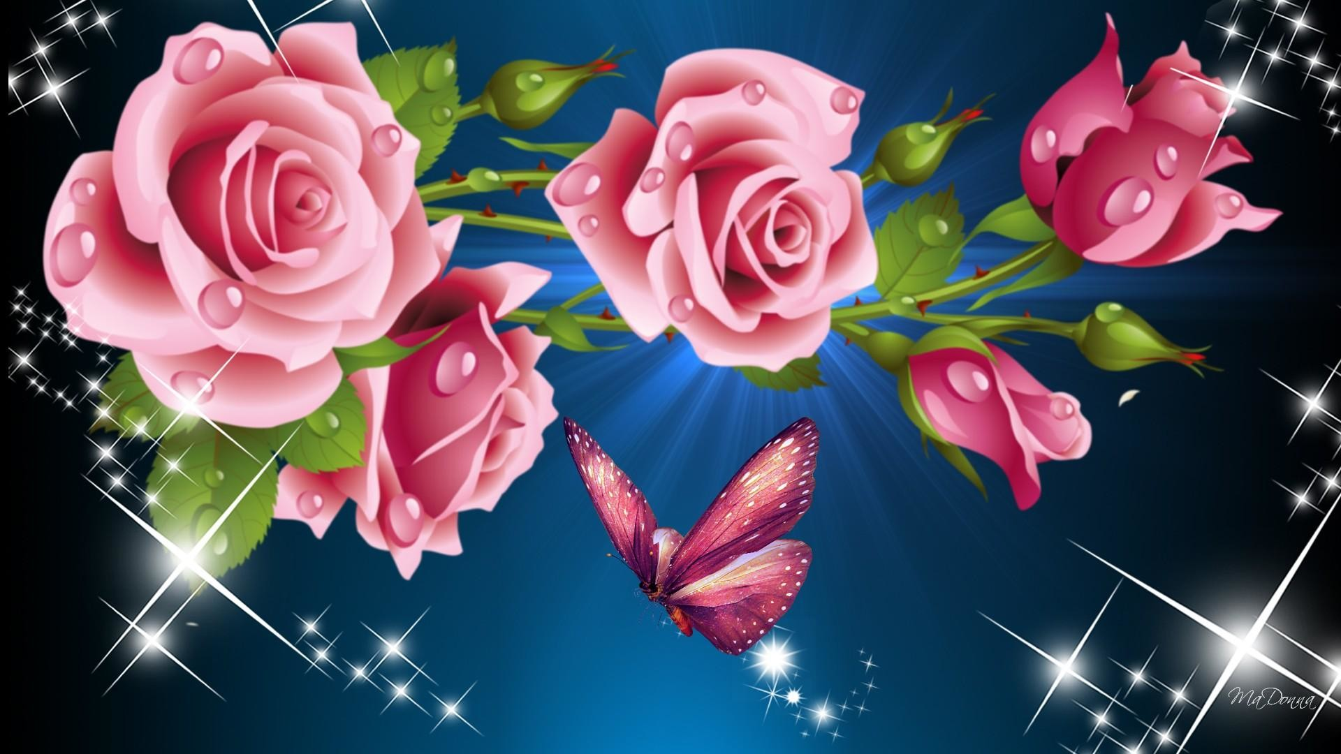 1920x1080 HD Pink Roses So Bright Wallpaper